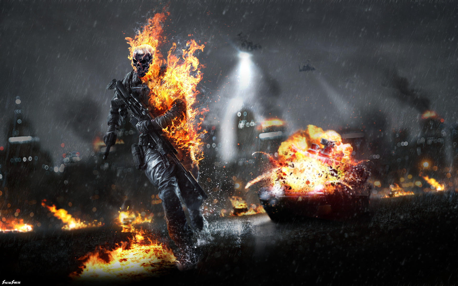 … Battlefield (with skulls and flames) by AcerSense