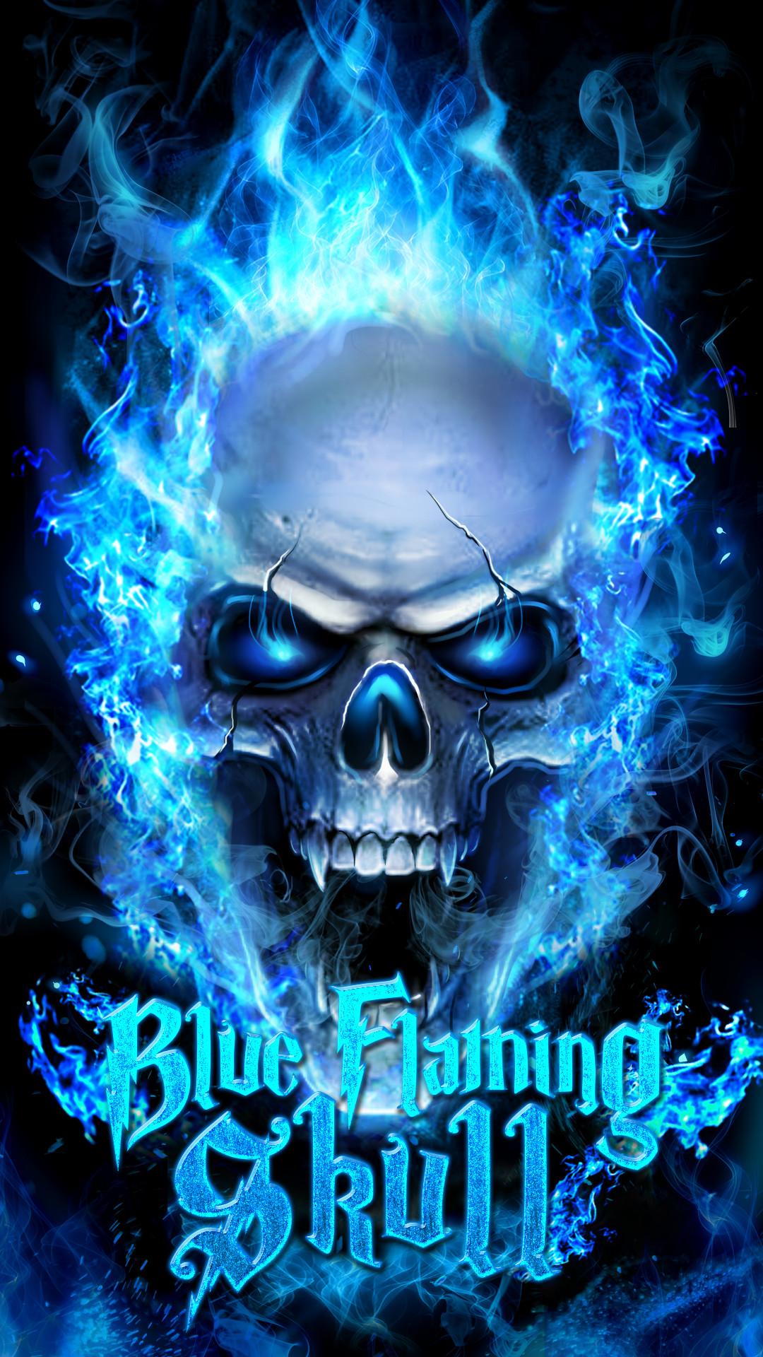 Blue flaming skull live wallpaper!