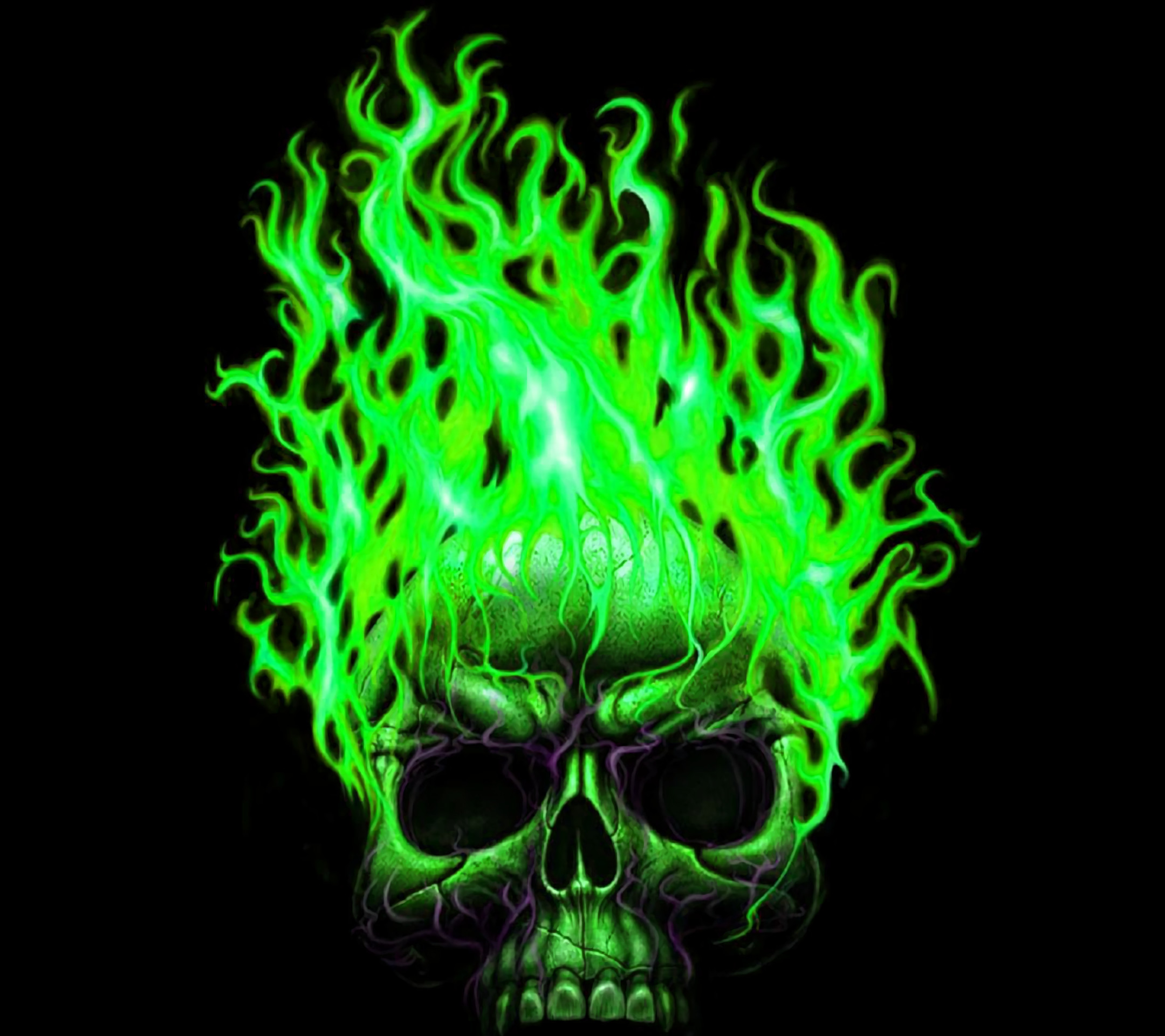Green Flaming Skull Wallpapers by Molly Dennis #14