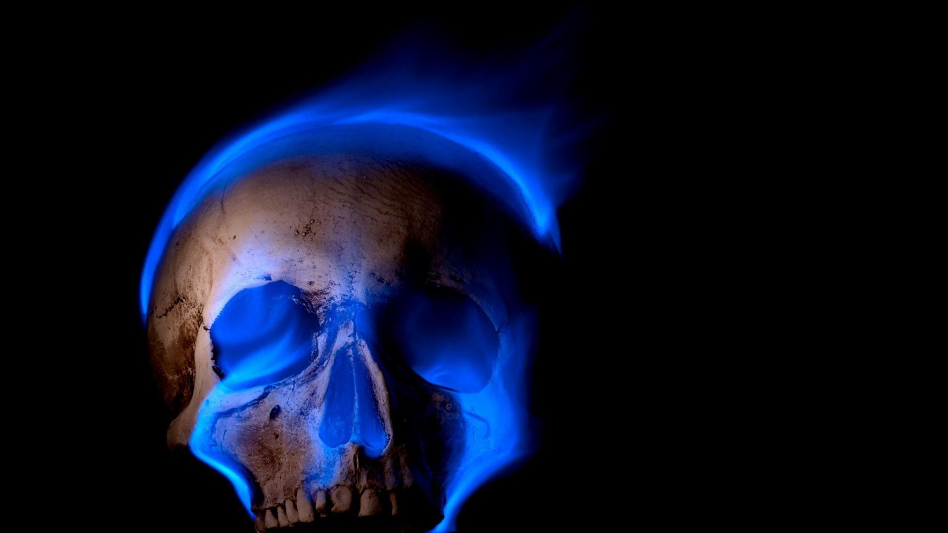 General digital art skull black background teeth burning blue  flames fire death spooky Gothic