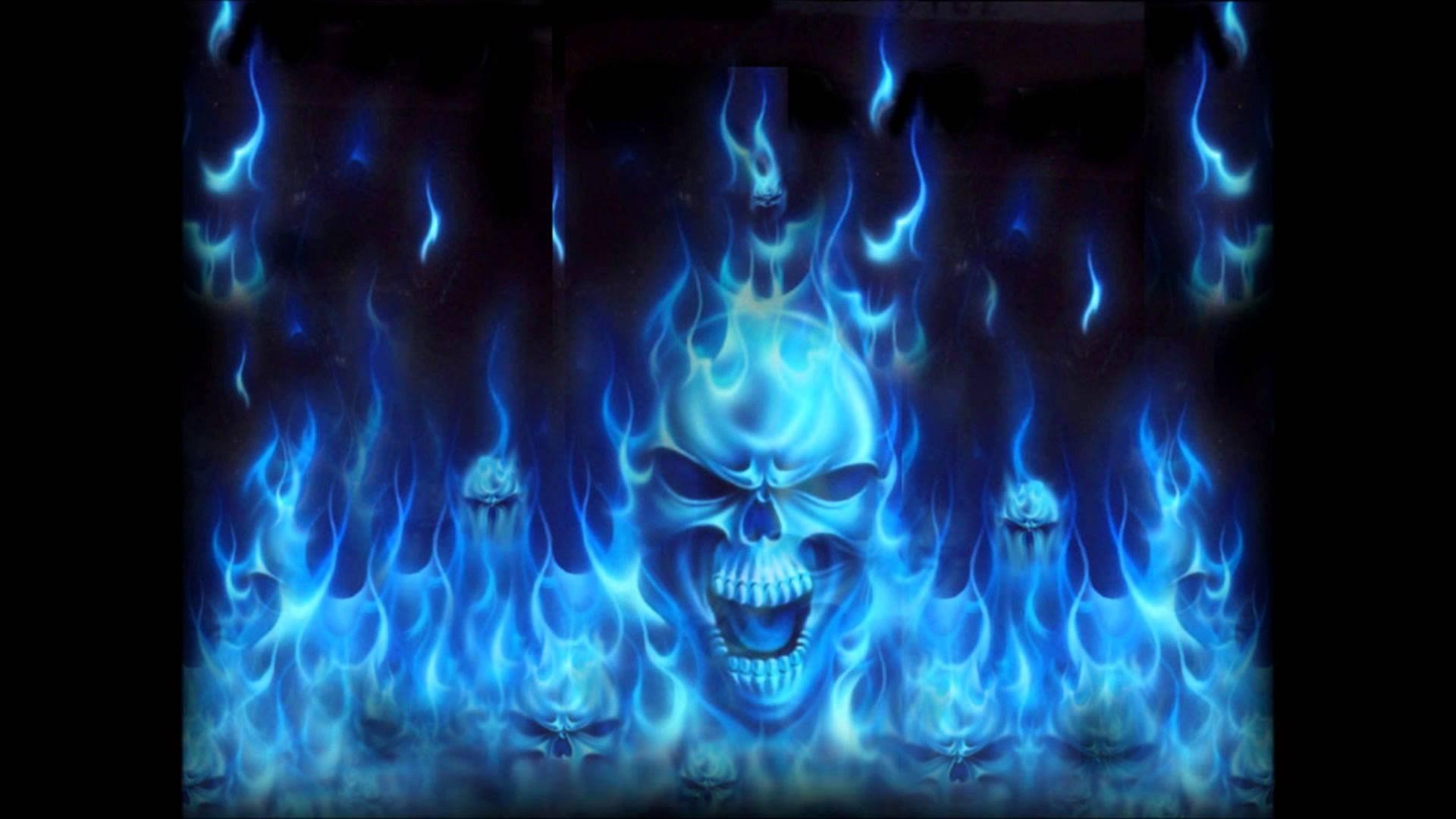 flaming skull live wallpaper …