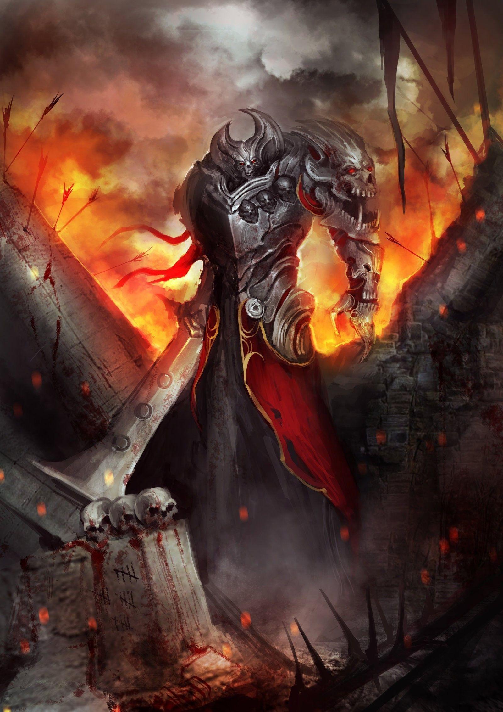 flames, skulls, war, blood, fire, weapons, artwork, swords,