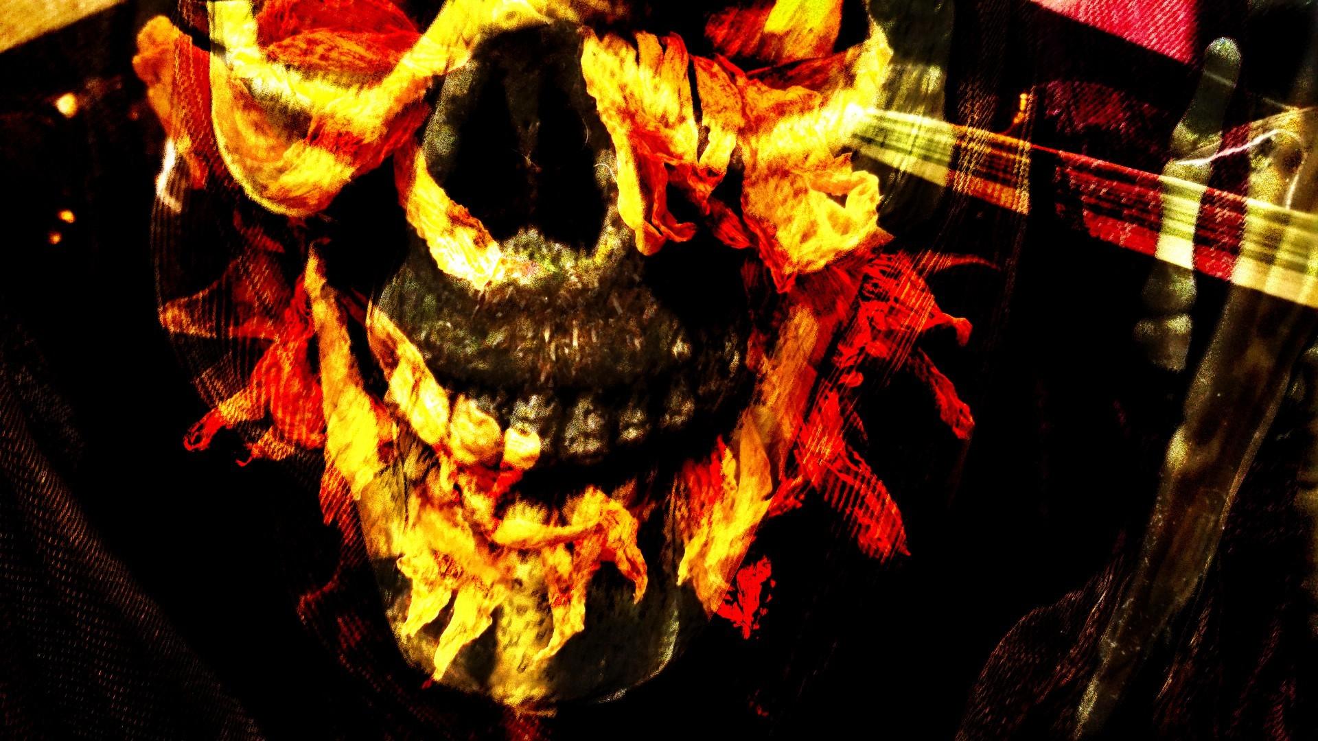 Flaming Skull Background
