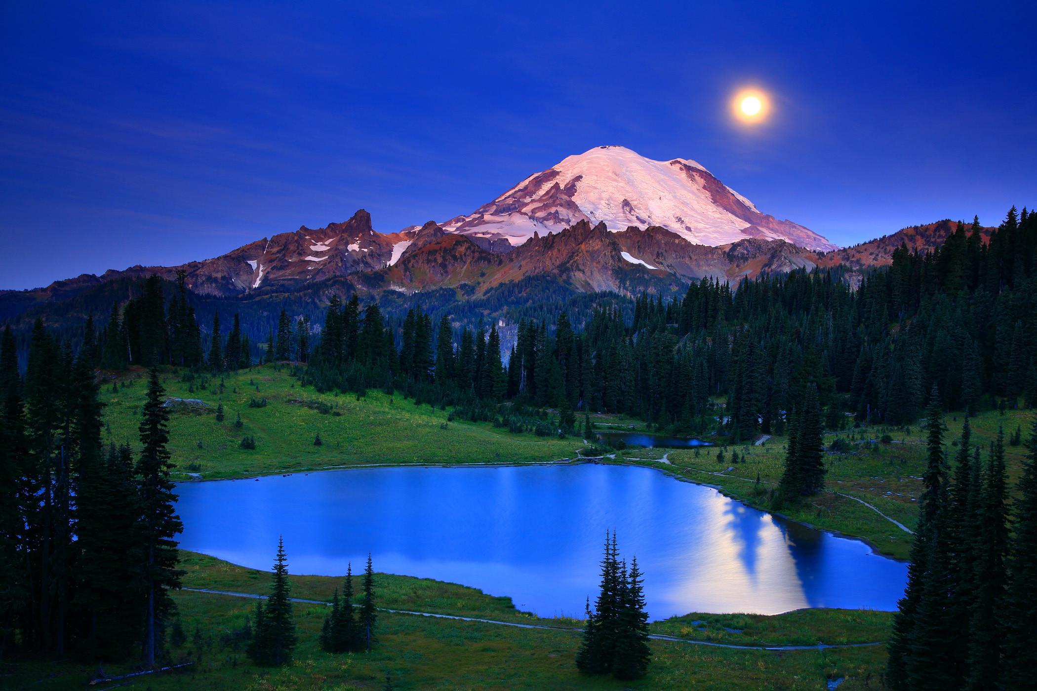 Washington lake mountains landscape moon moonlight night reflection  wallpaper     153396   WallpaperUP
