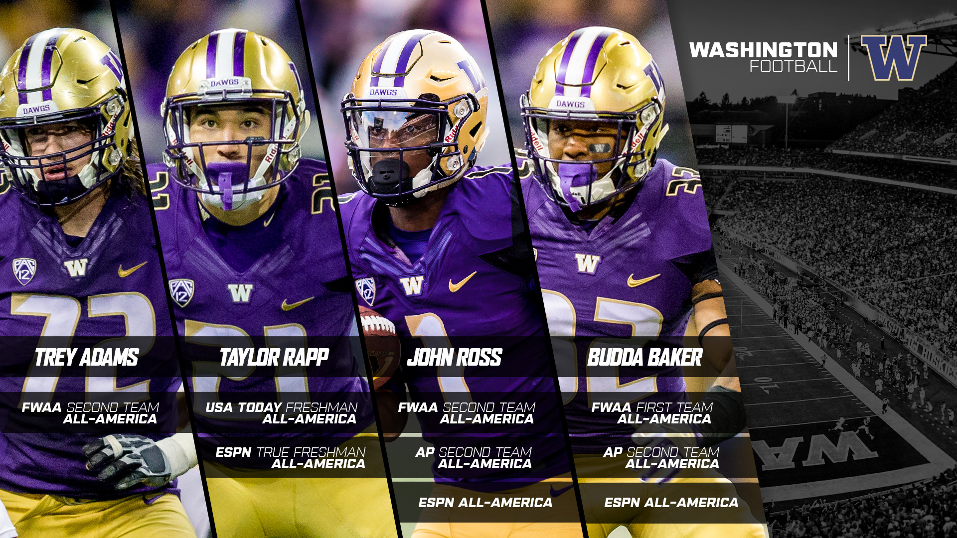 All-America Honors Roll In For Four Huskies