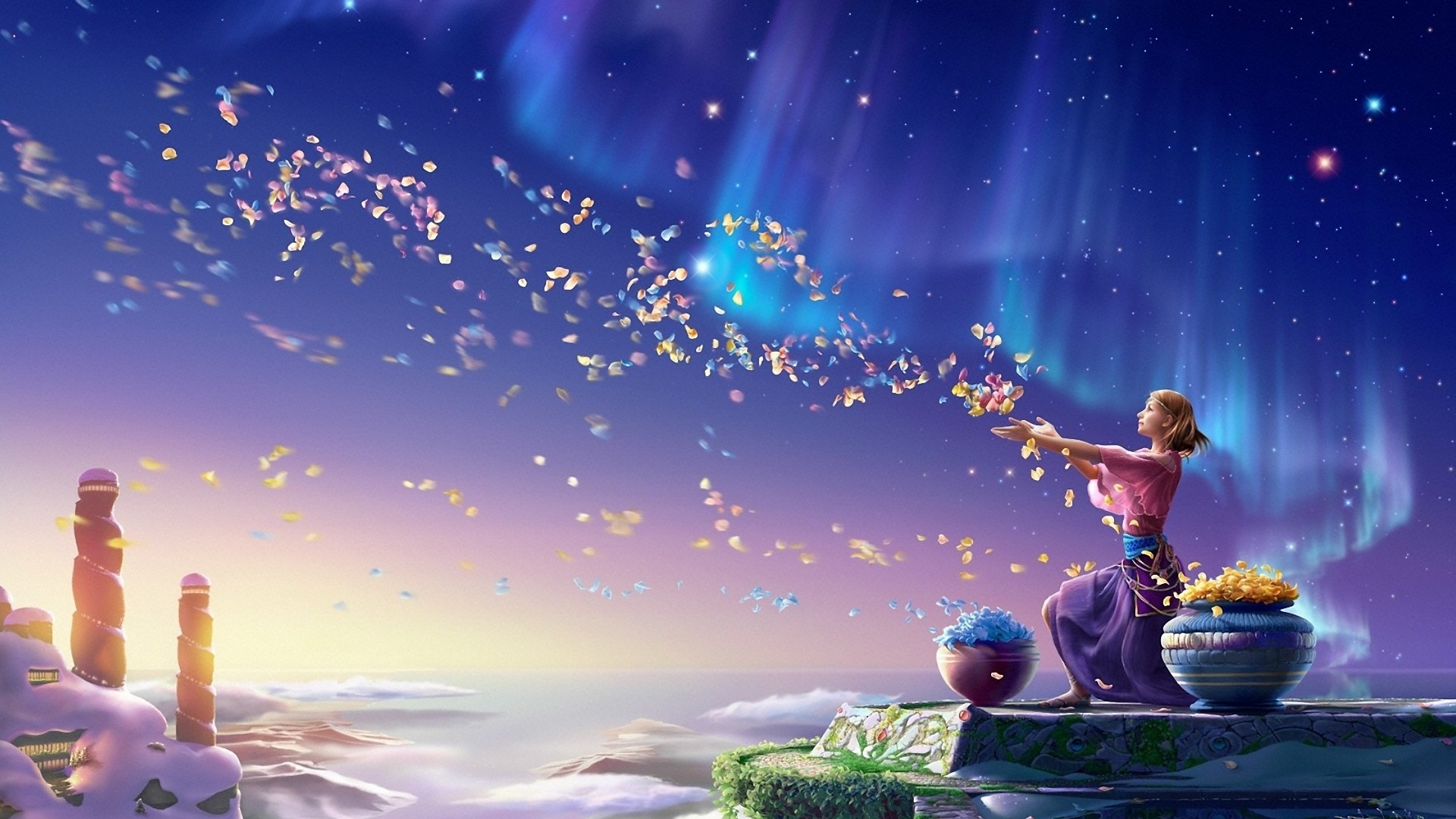 art, kagaya wallpaper, girl, petals, flowers, northern lights, the sky