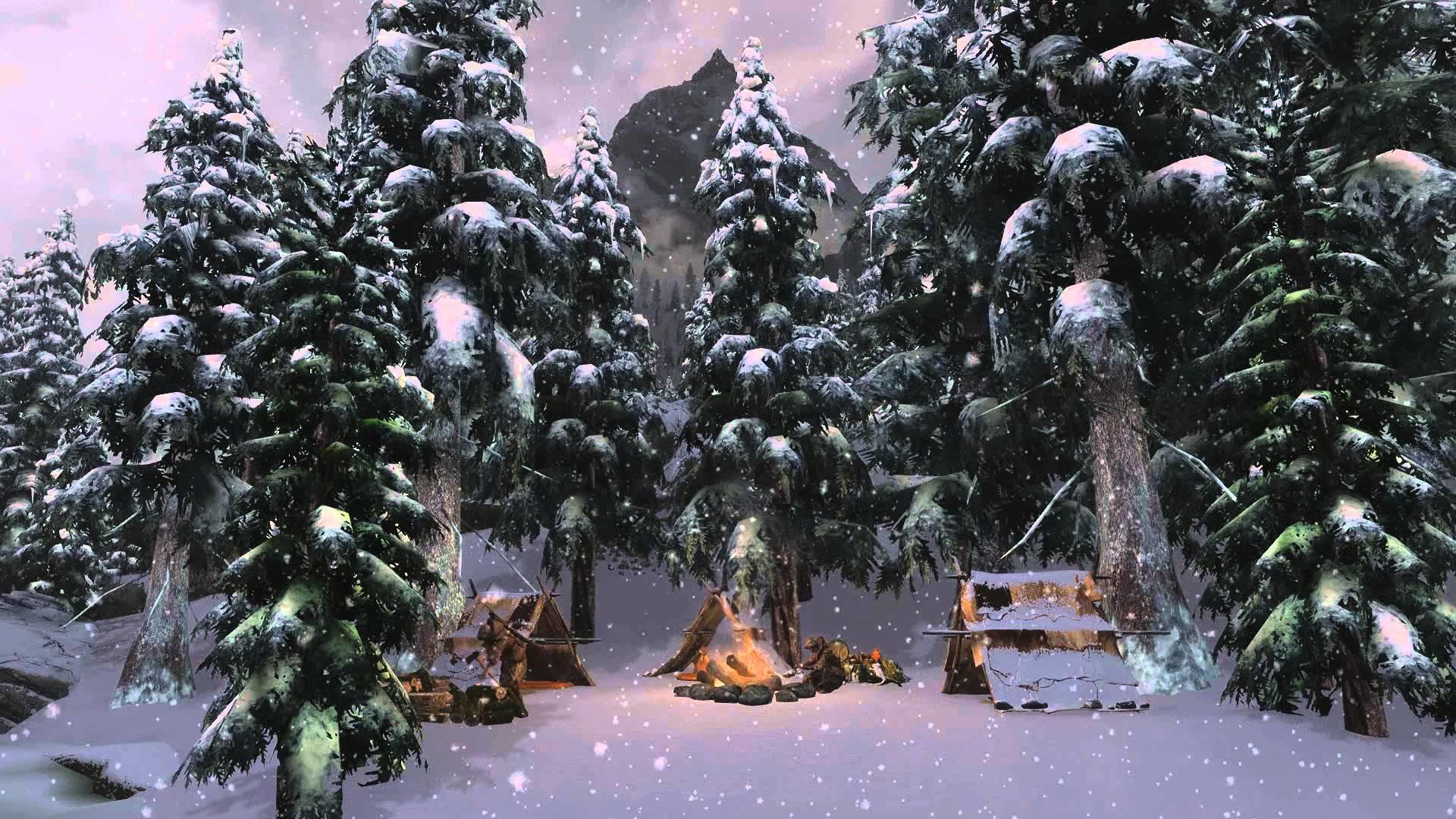 Animated Desktop Wallpaper – Winter Skyrim – Campfire
