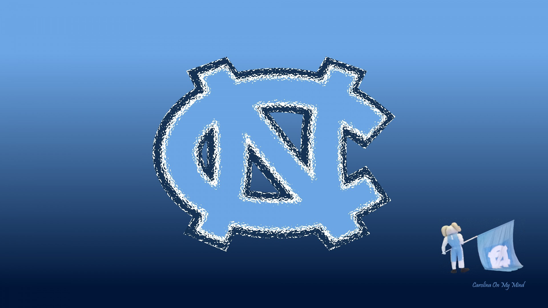 UNC Wallpaper – Glass NC with Rameses and Flag on Blue Gradient 1920 x 1080