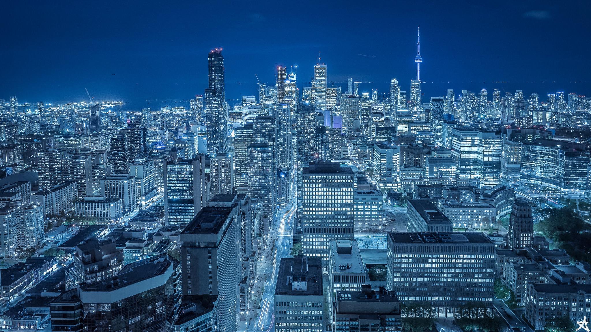 Man Made – Toronto Skyscraper City Night Canada Wallpaper