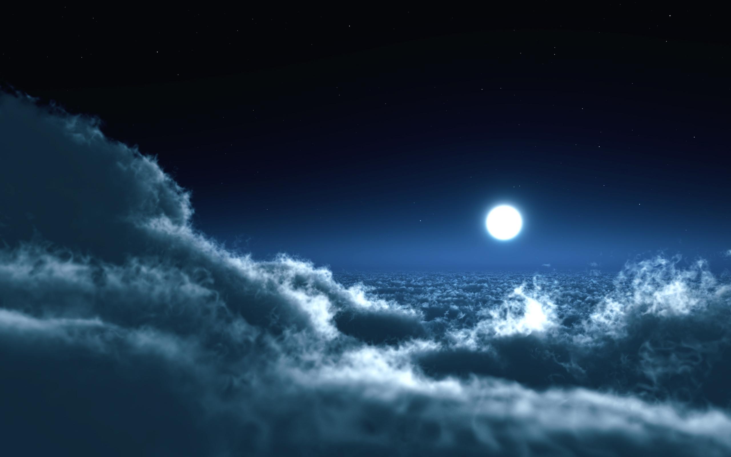 Earth – Cloud Moon Sky Blue Wallpaper