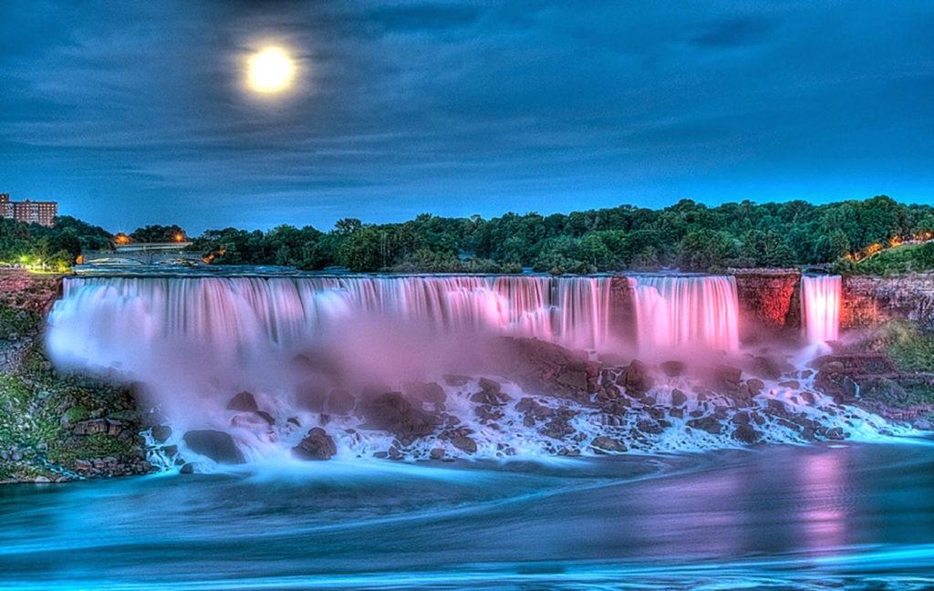 Earth – Waterfall Earth Night Dusk Moon Rock Tree Wallpaper