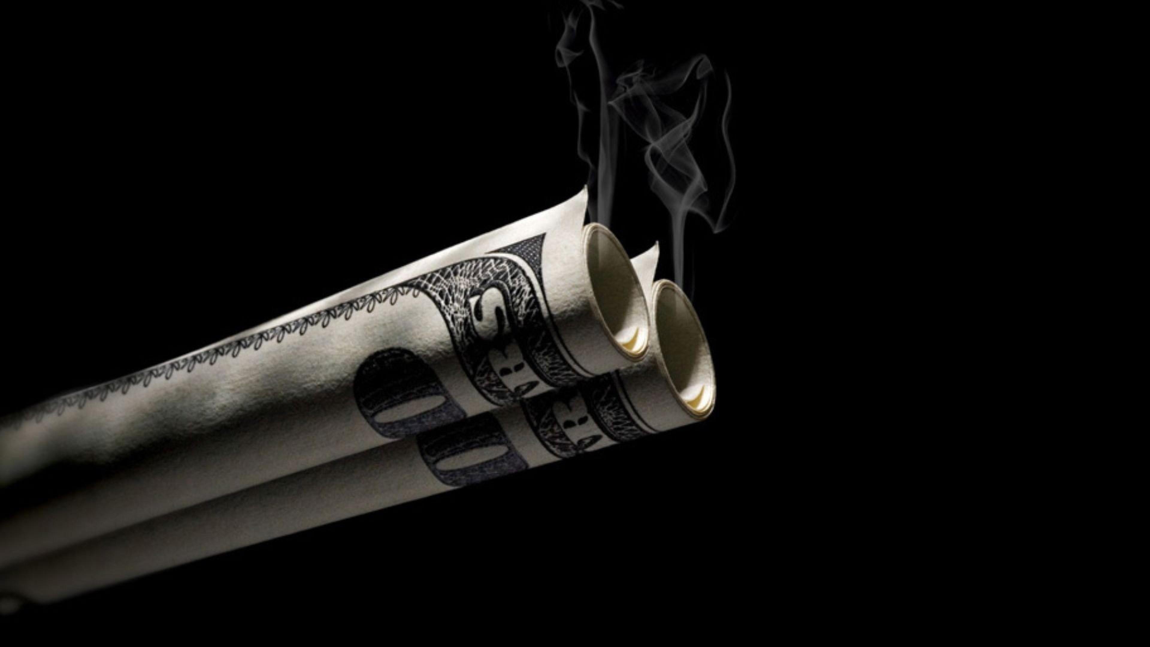 Preview wallpaper dollar, bills, smoke, background 3840×2160