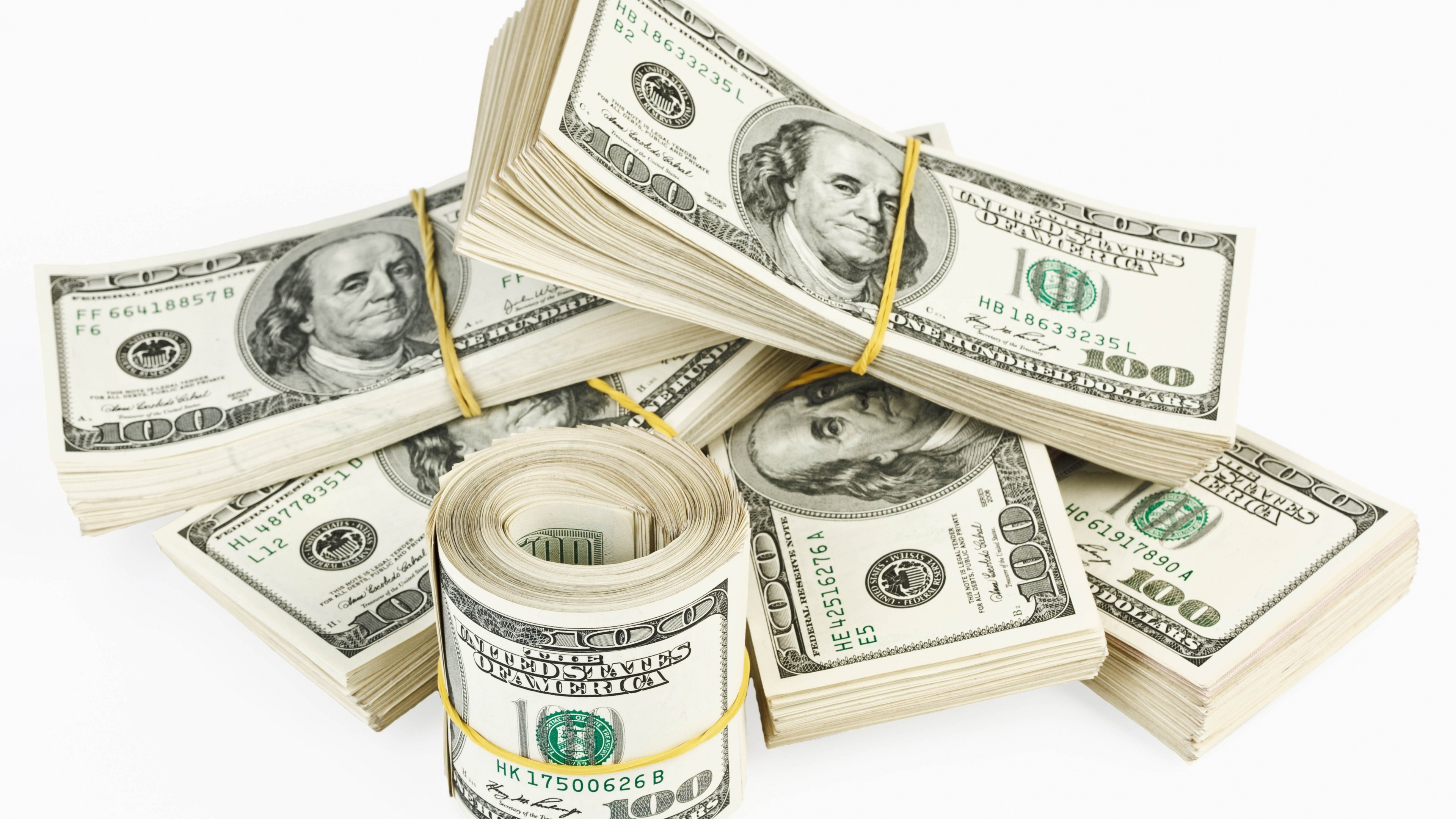 Preview wallpaper dollar, money, pack, white background 3840×2160
