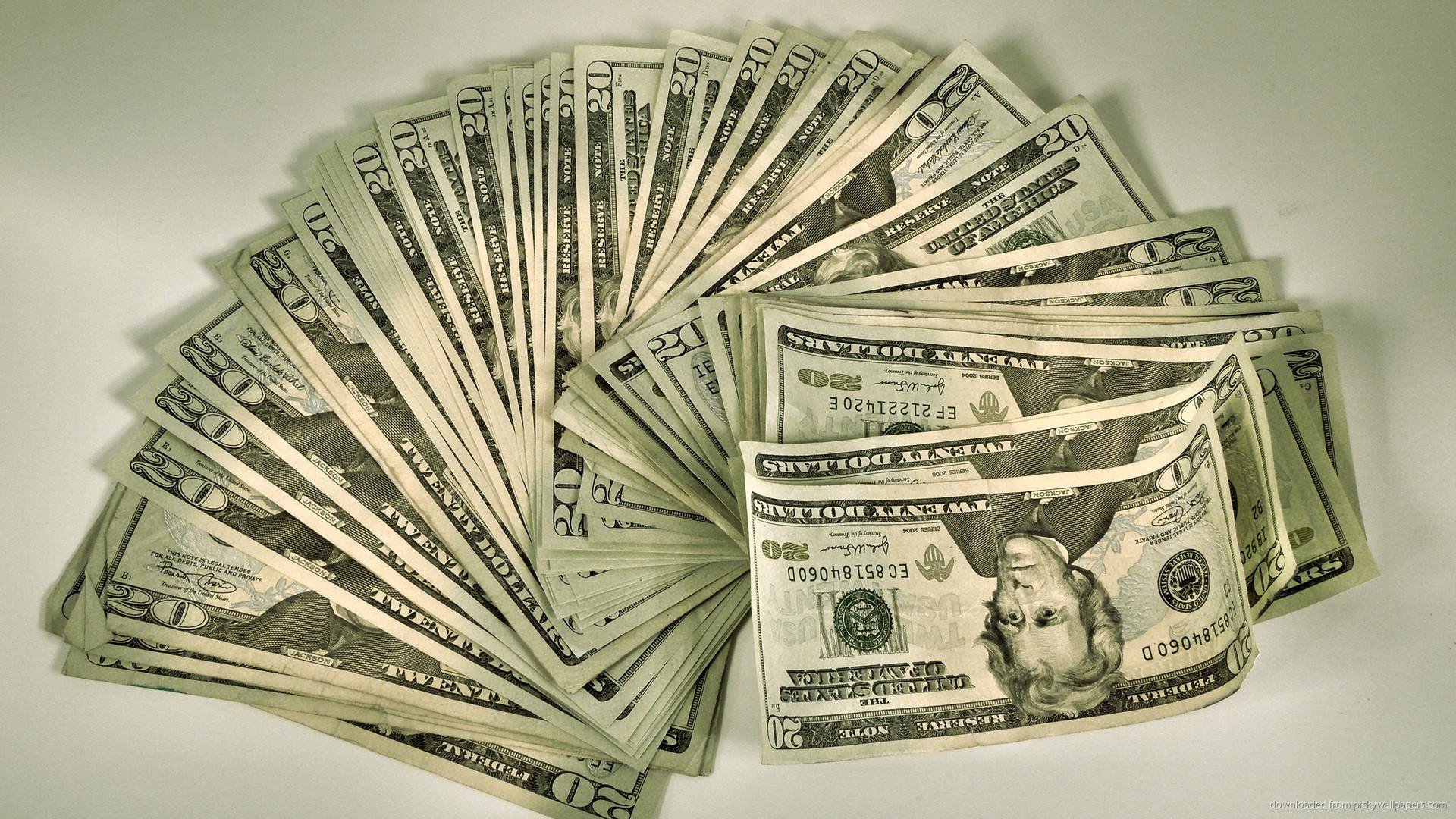 Fan of 20 dollar bills picture