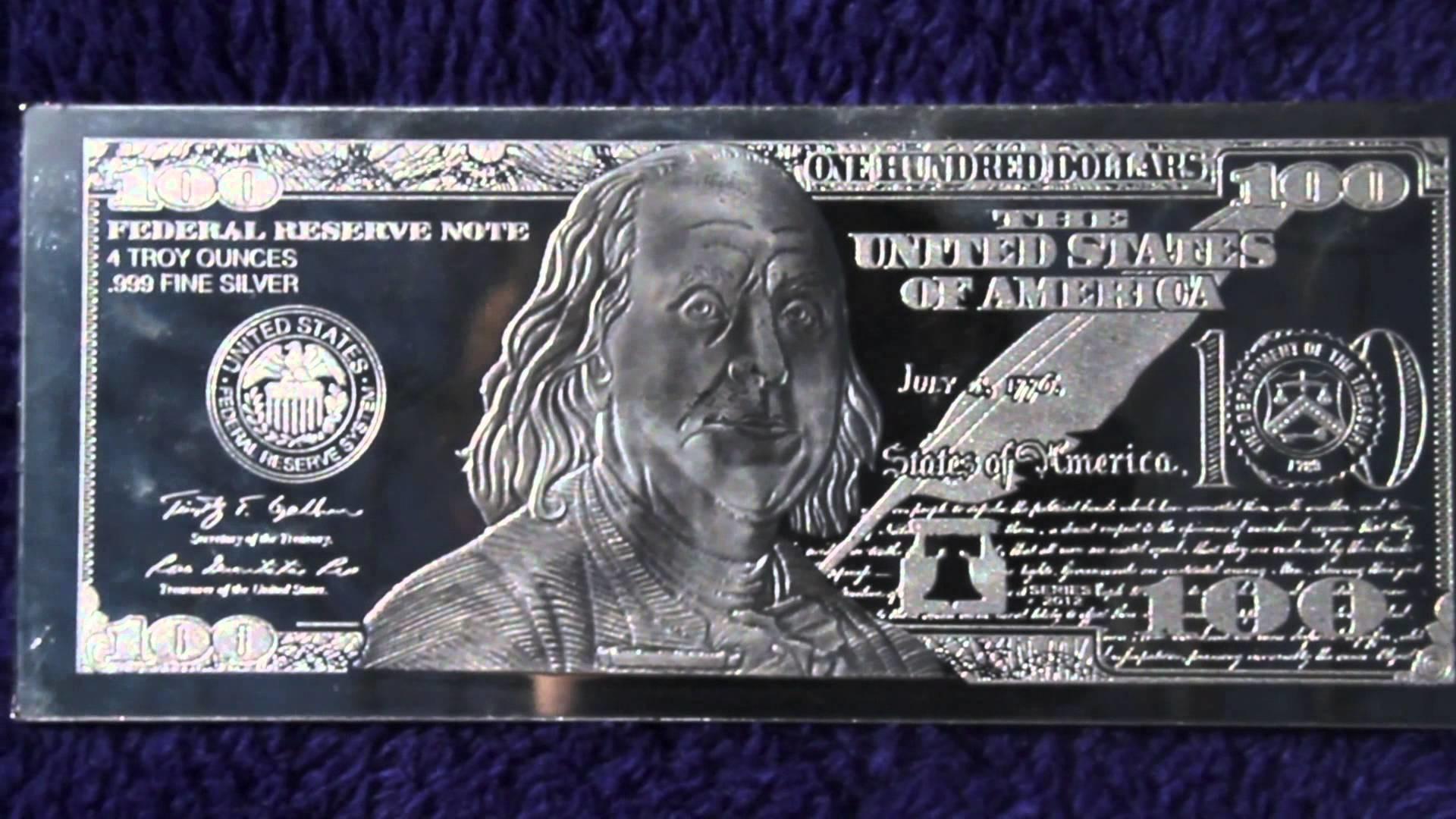 Silver 4oz Benjamin Franklin $100 Bill. HD