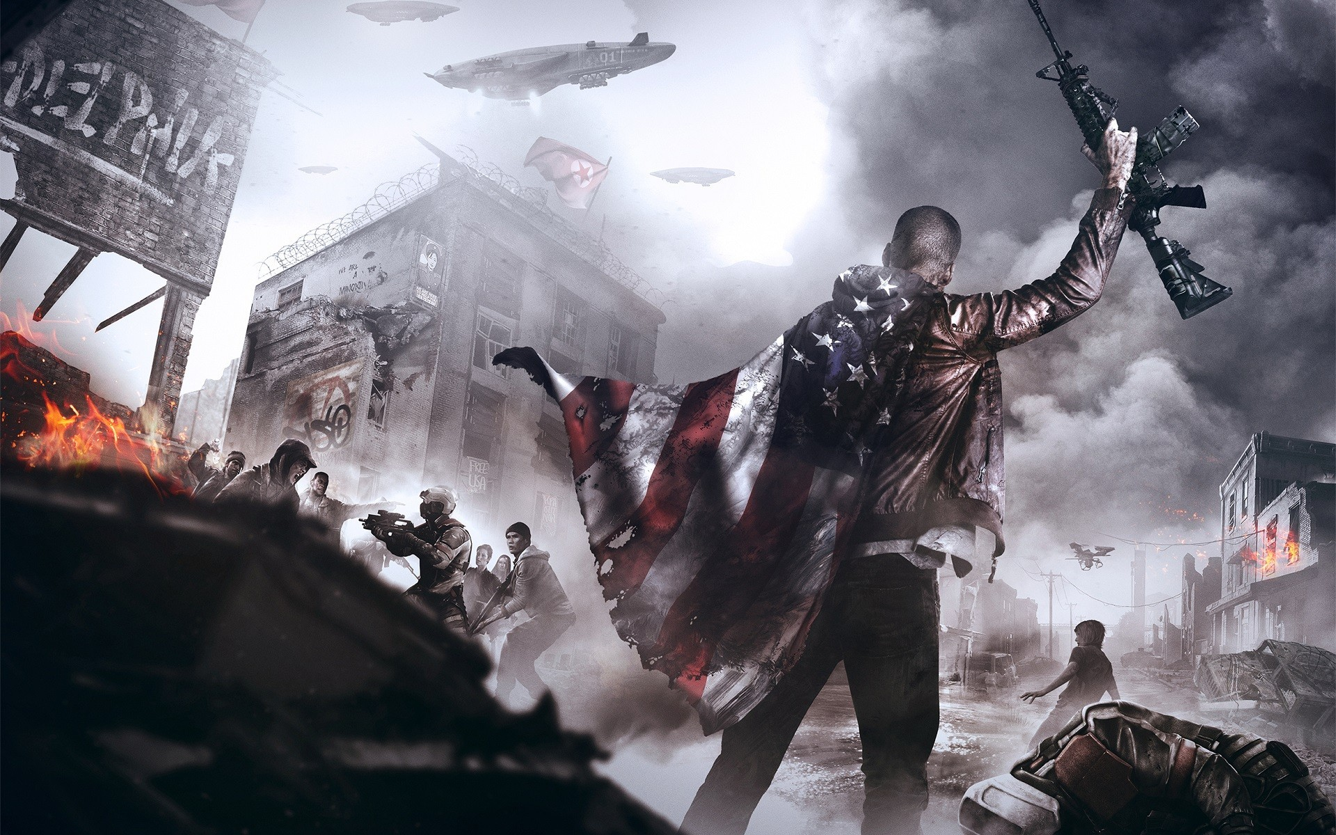 video Games, Concept Art, Homefront, Homefront: The Revolution, Weapon,  Flag, American Flag Wallpapers HD / Desktop and Mobile Backgrounds