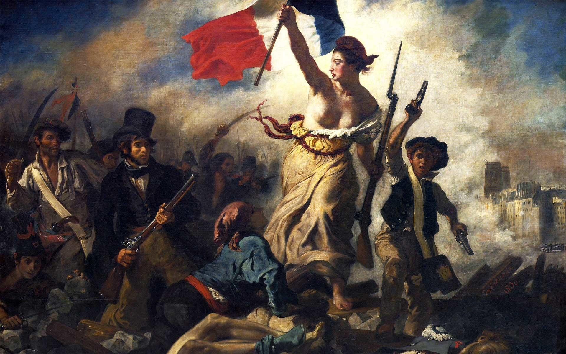 "Delacroix, Eugene: ""Liberty leading the people"", 1830 Paris, Louvre ·  French RevolutionAmerican …"