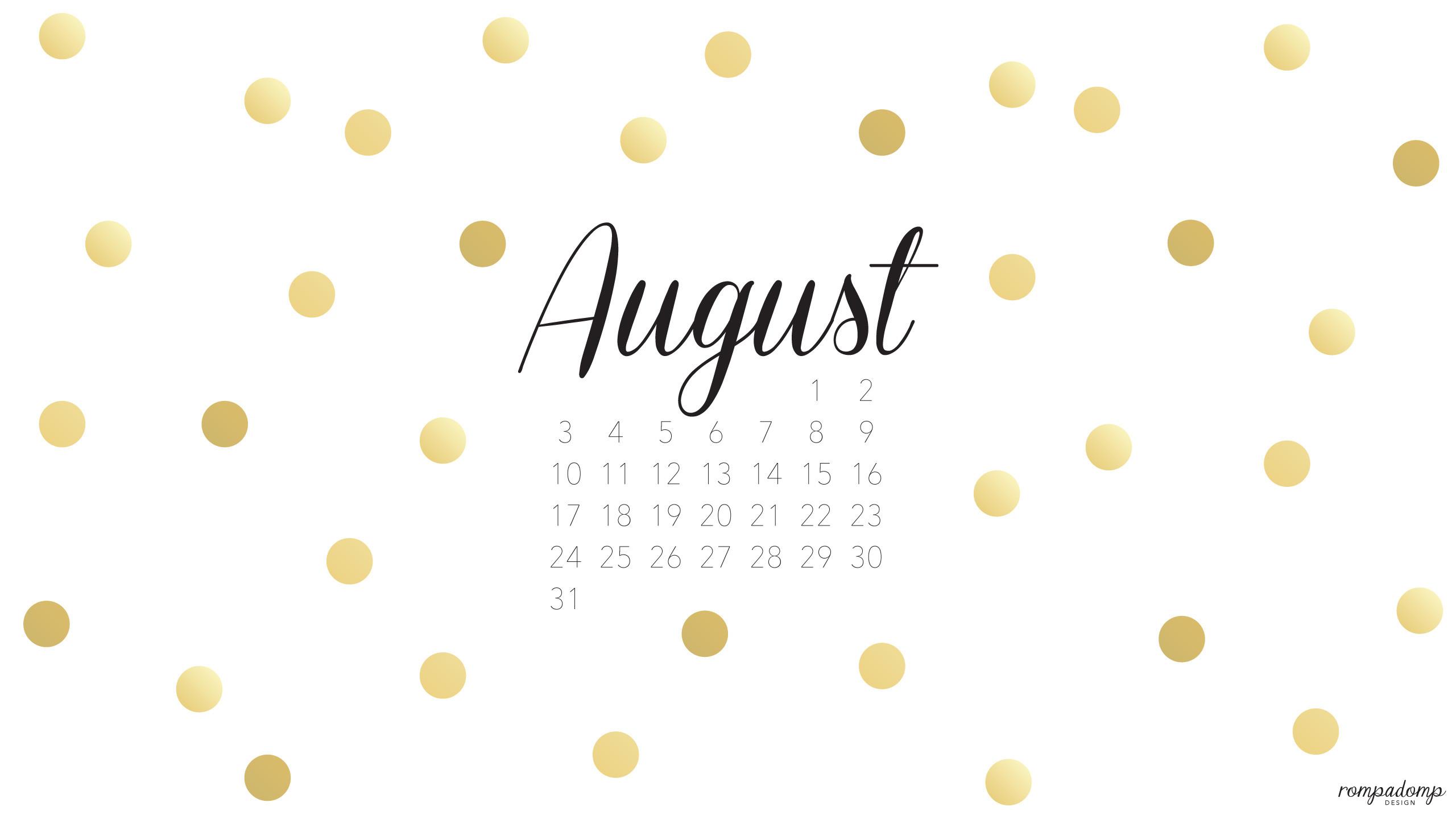 August 2014 Desktop Calendar Wallpaper