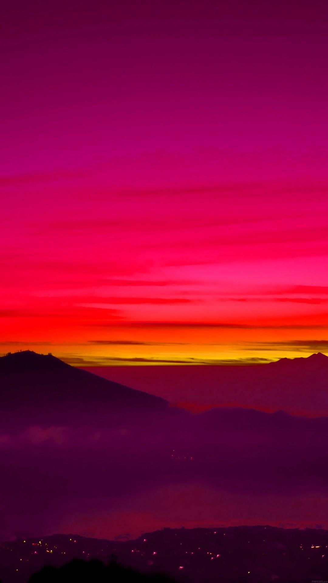 Red Balinese Dream Sea Mountain Sunset #iPhone #6 #wallpaper