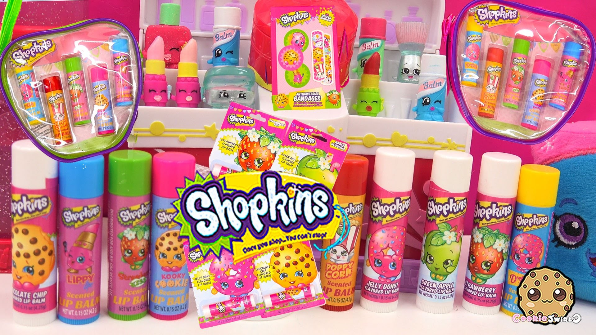 4 Flavored Shopkins Lip Balm Single Packs and 2 zip cases with 5 Scented  Lipbalms Cookieswirlc – YouTube