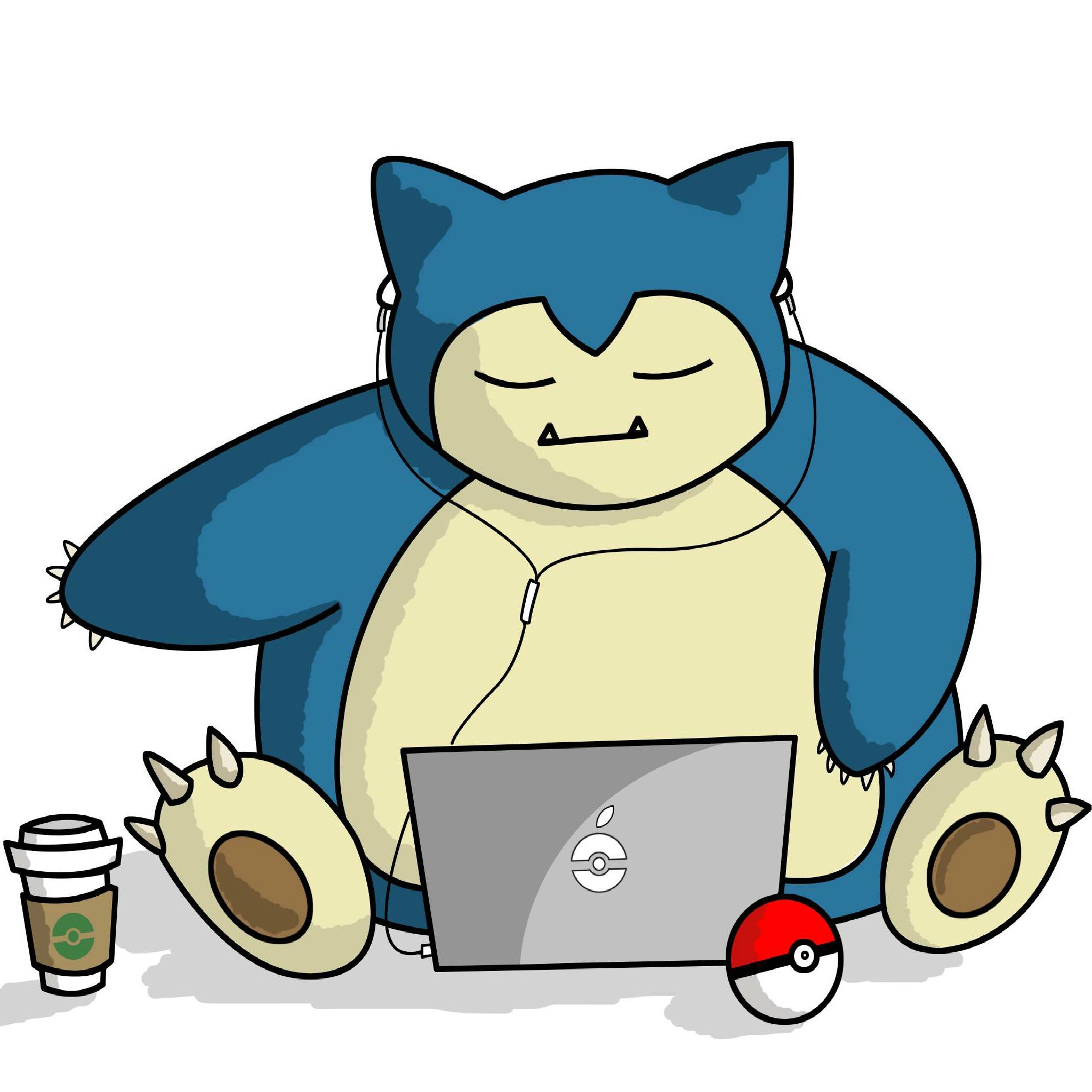 Snorlax with Laptop – Tap to see more Pokemon Snorlax wallpapers! @mobile9
