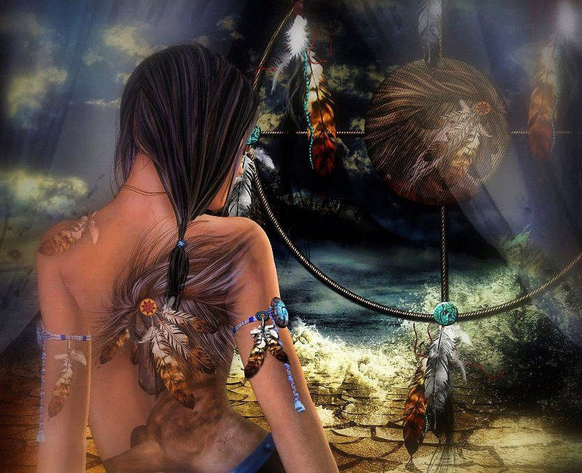 Native American Indian Dream Catchers Wallpaper