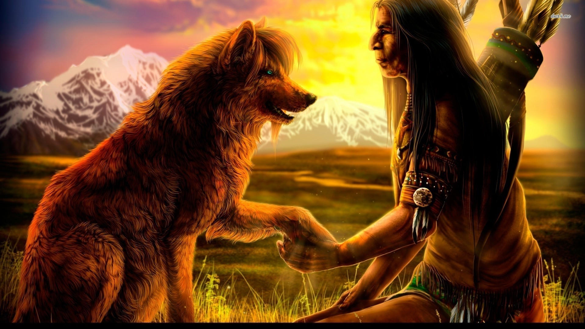 Native Americans | Native American with a wolf wallpaper 1280×800 Native  American with a .
