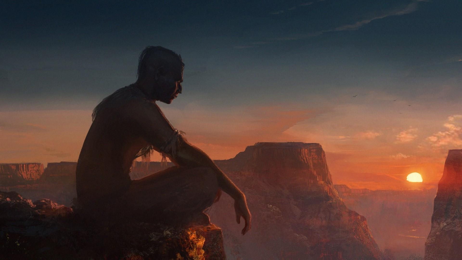 meditation, Spiritual, Shaman, Sunset, Aboriginal, Native Americans  Wallpapers HD / Desktop and Mobile Backgrounds