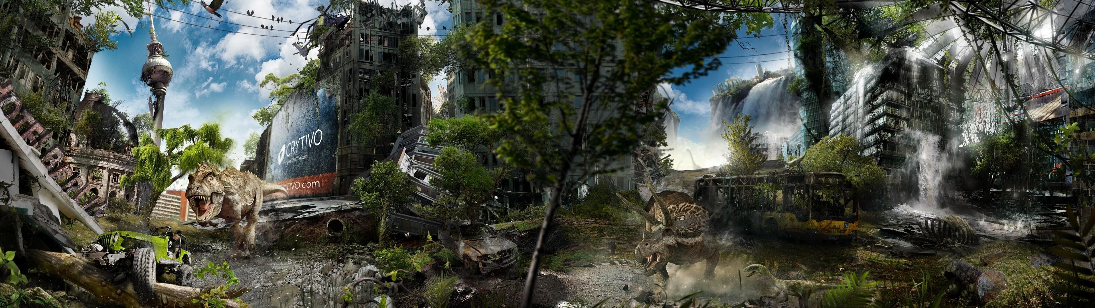 alexander koshelkov berlin post-apocalypse town ruin dinosaurs buildings dual  monitor