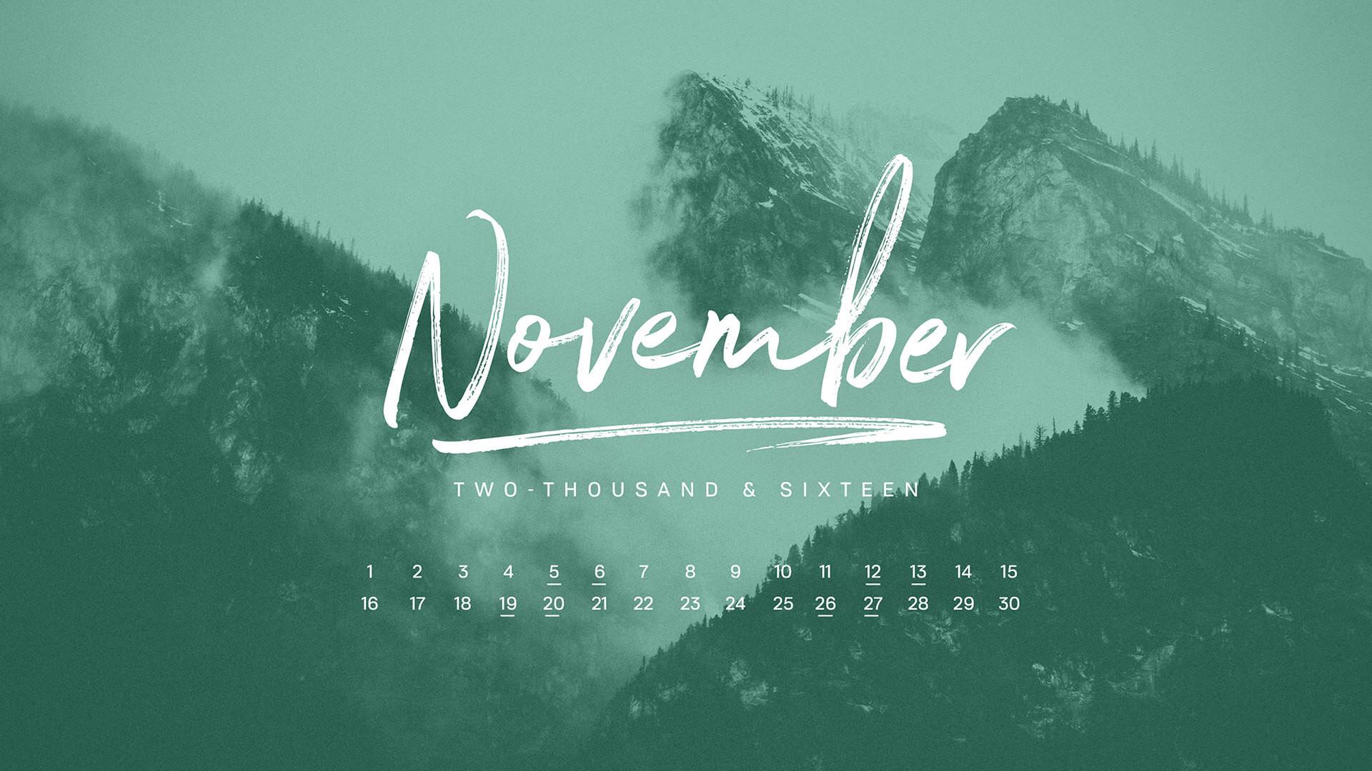 November 2016 Desktop Calendar Wallpaper