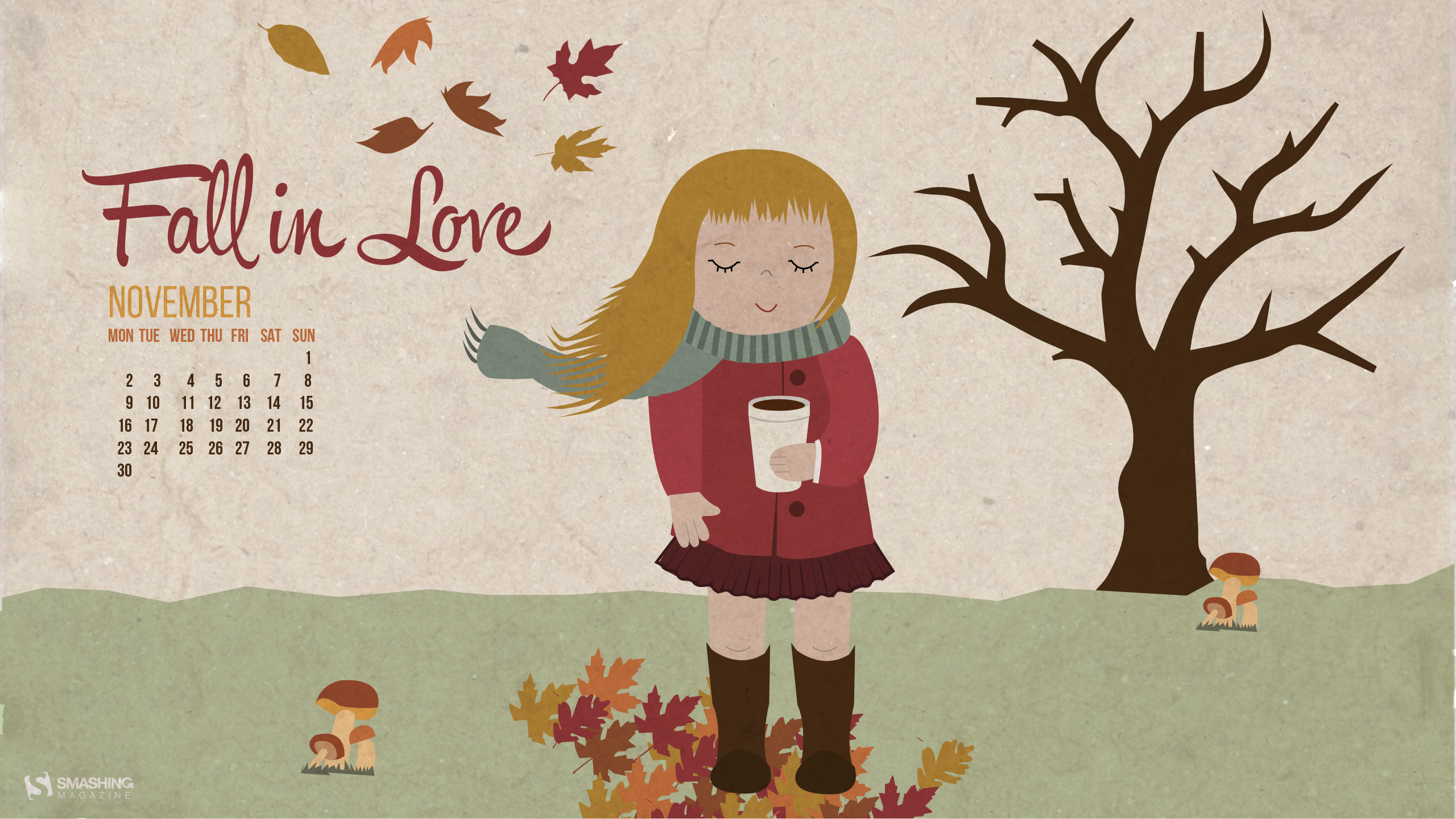 Autumn Love November 2015 Calendars Desktop Wallpaper-2560×1440