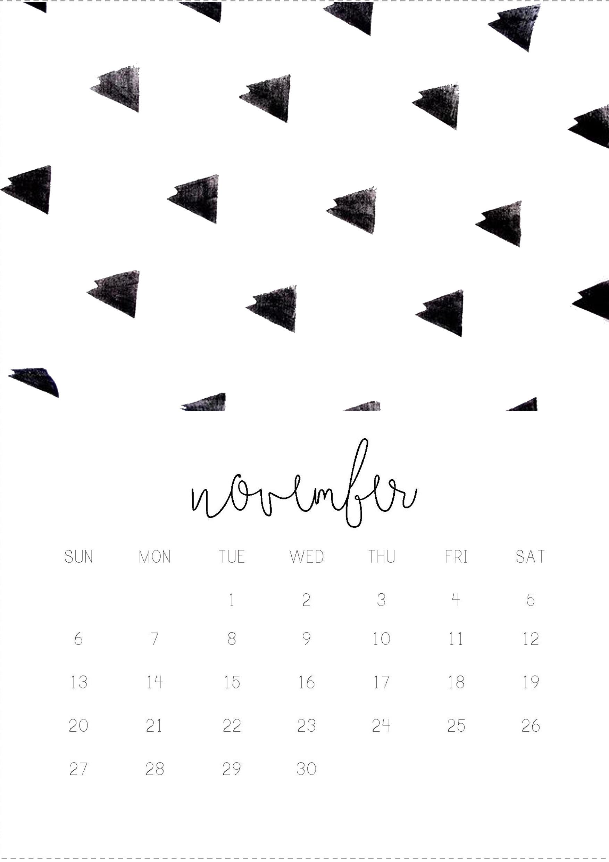 11/12 November monthly 2016 calendar printable, collage digital design by  Gisela Titania.