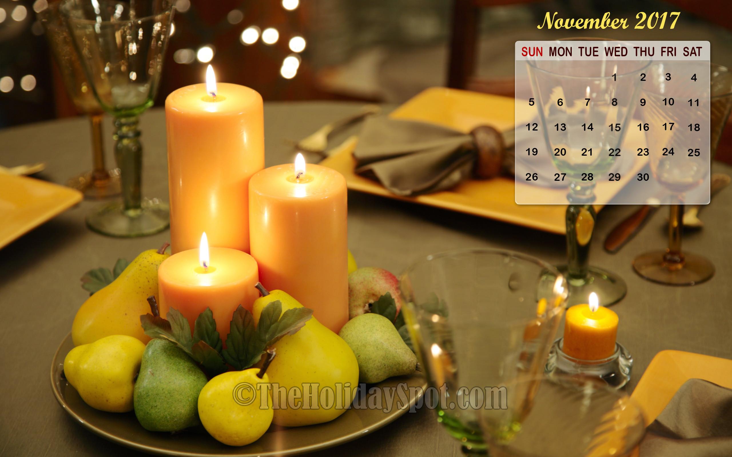 Thanksgiving themed November 2017 Calendar Wallpaper