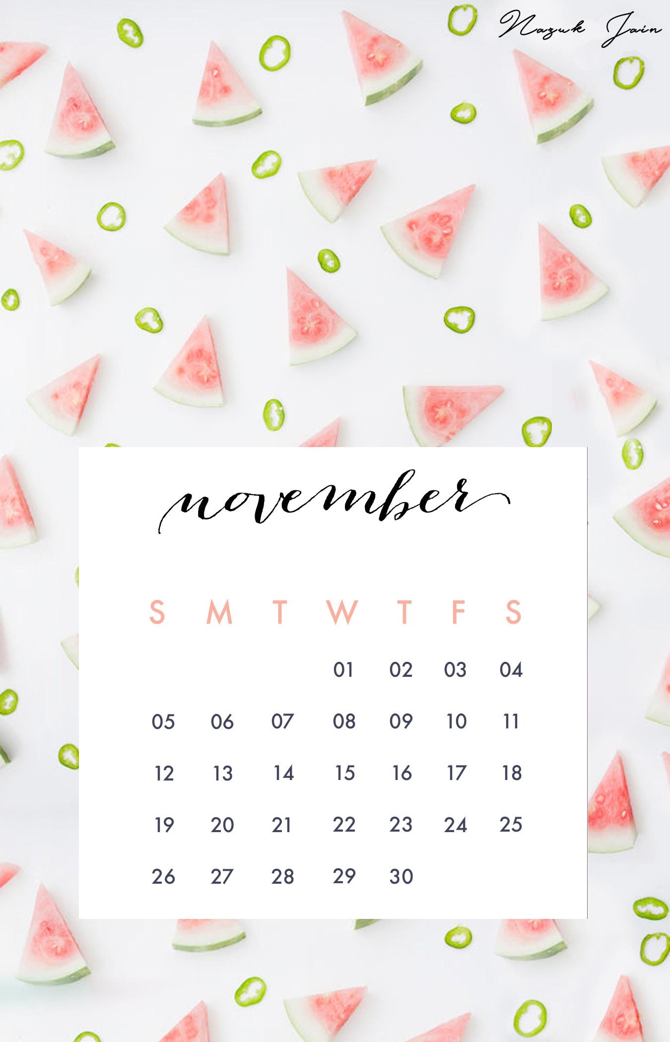 November – Free Calendar Printables 2017 by Nazuk Jain