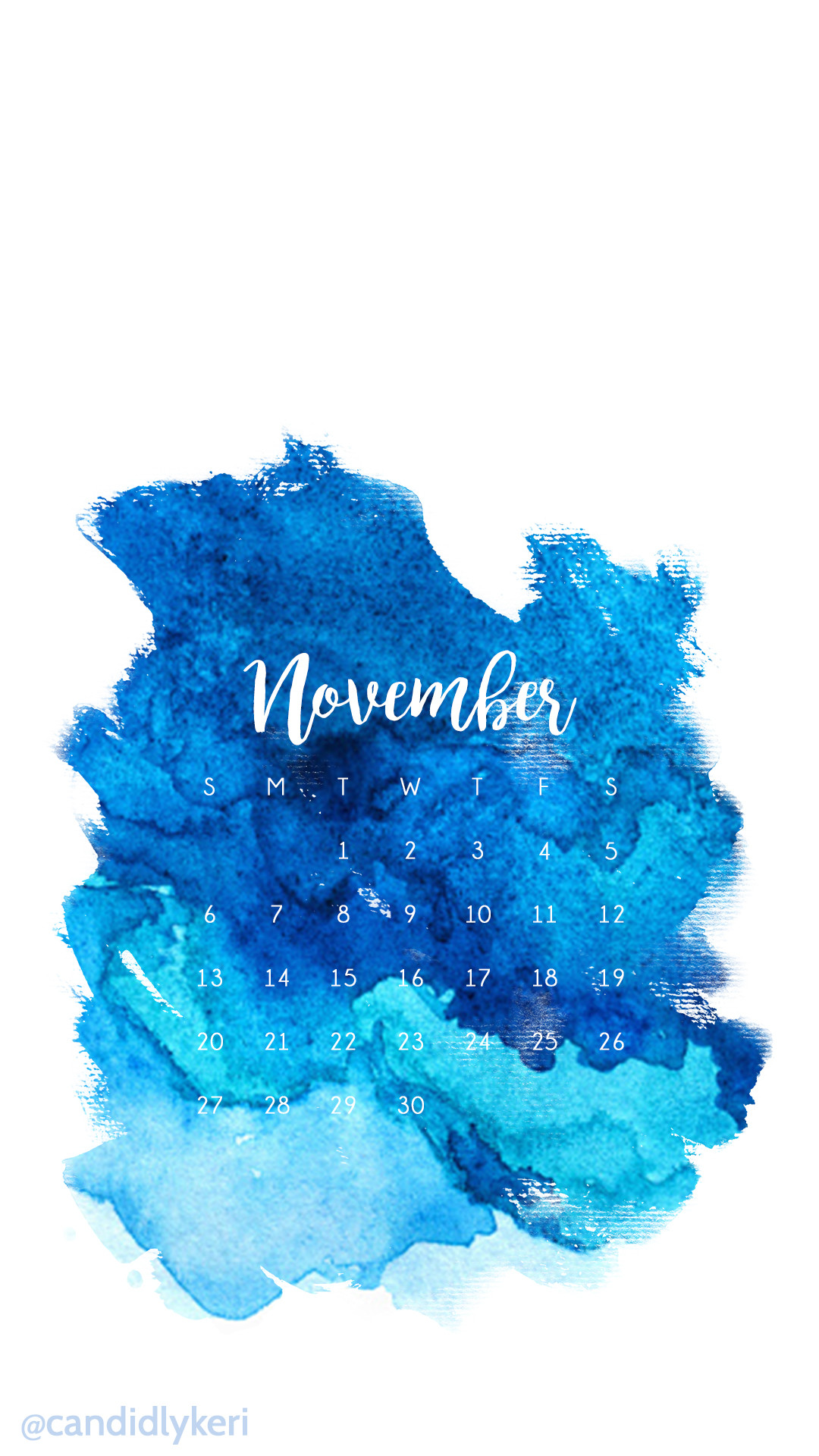 Dark Blue light Blue ocean Watercolor November calendar 2016 wallpaper you  can download for free on