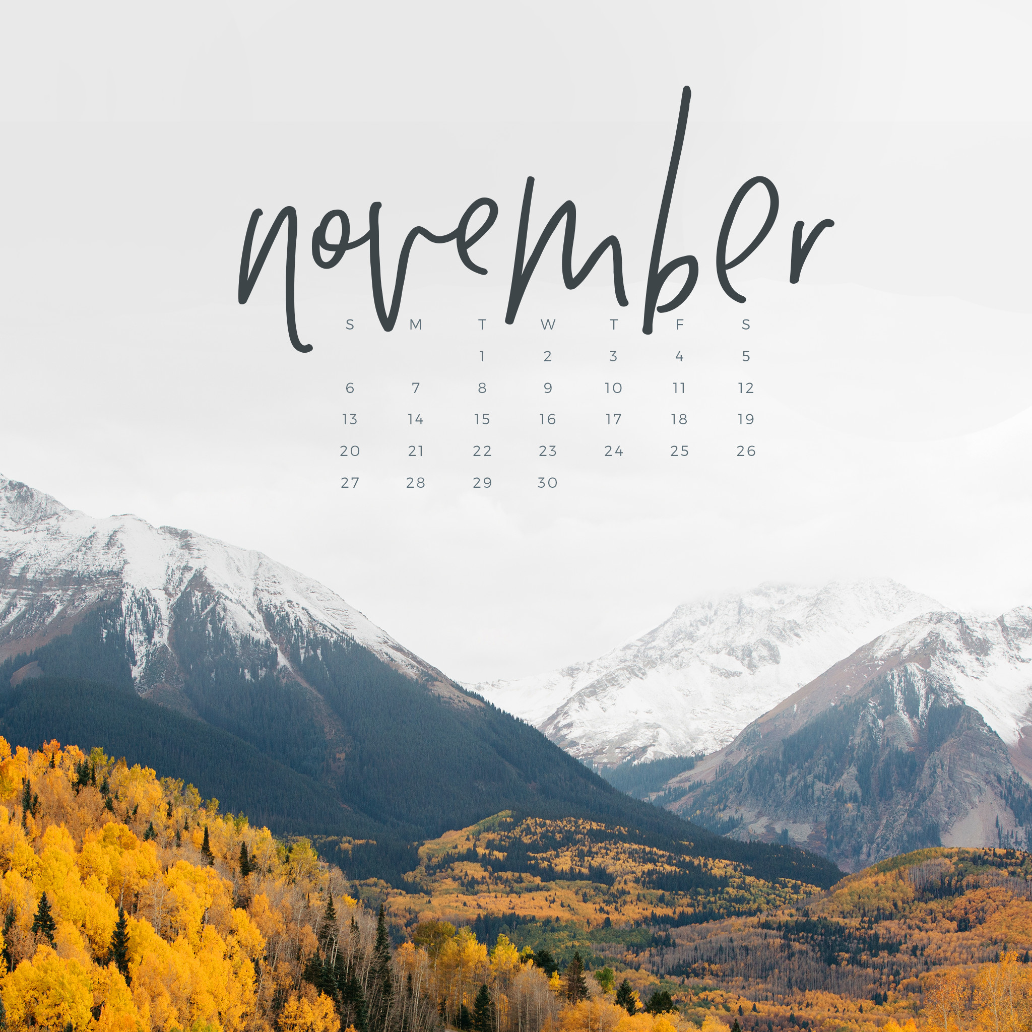 Free November 2016 Calendar Wallpaper