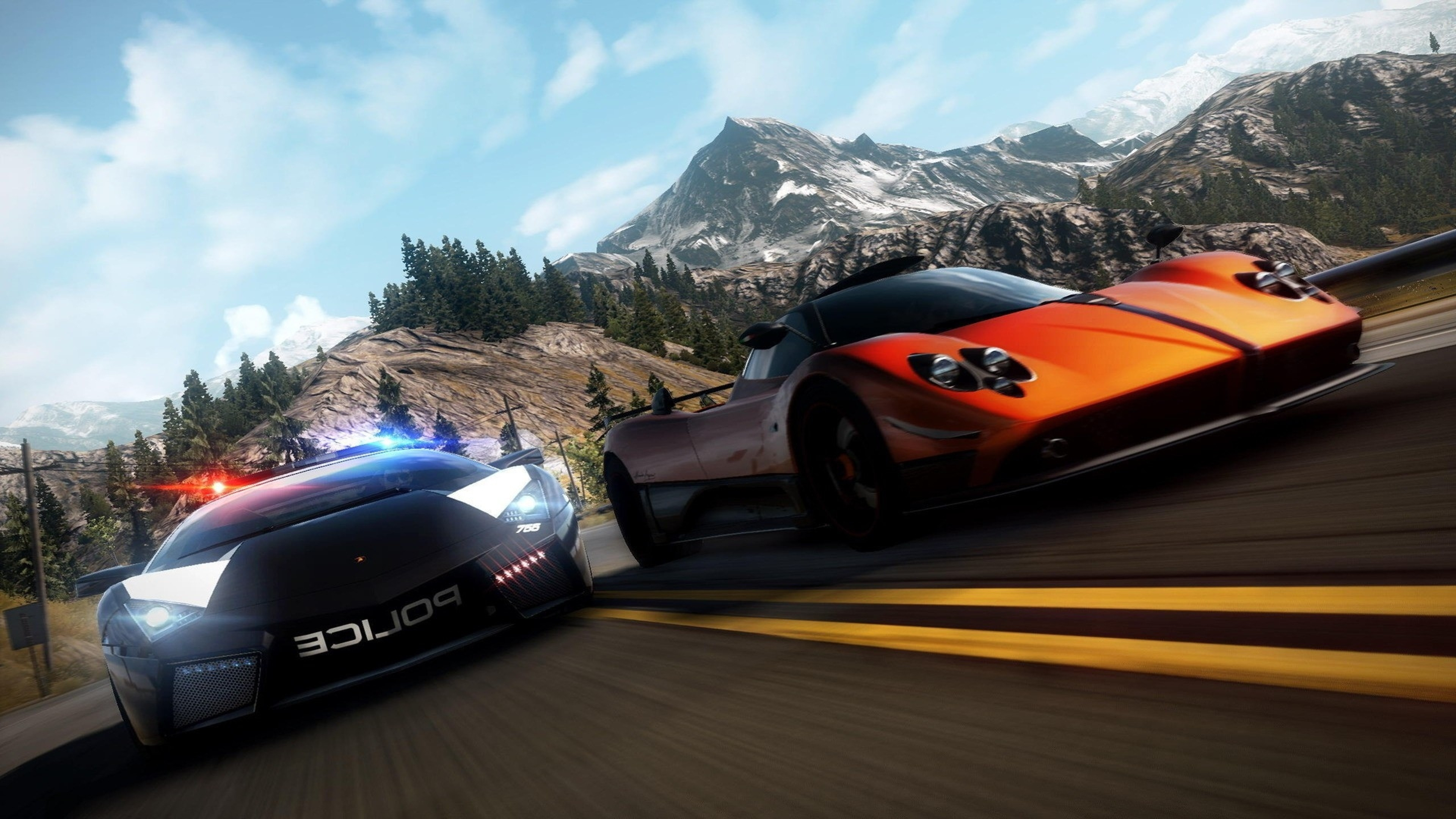 Preview wallpaper nfs, need for speed, police, road, mountain, sky 3840×2160