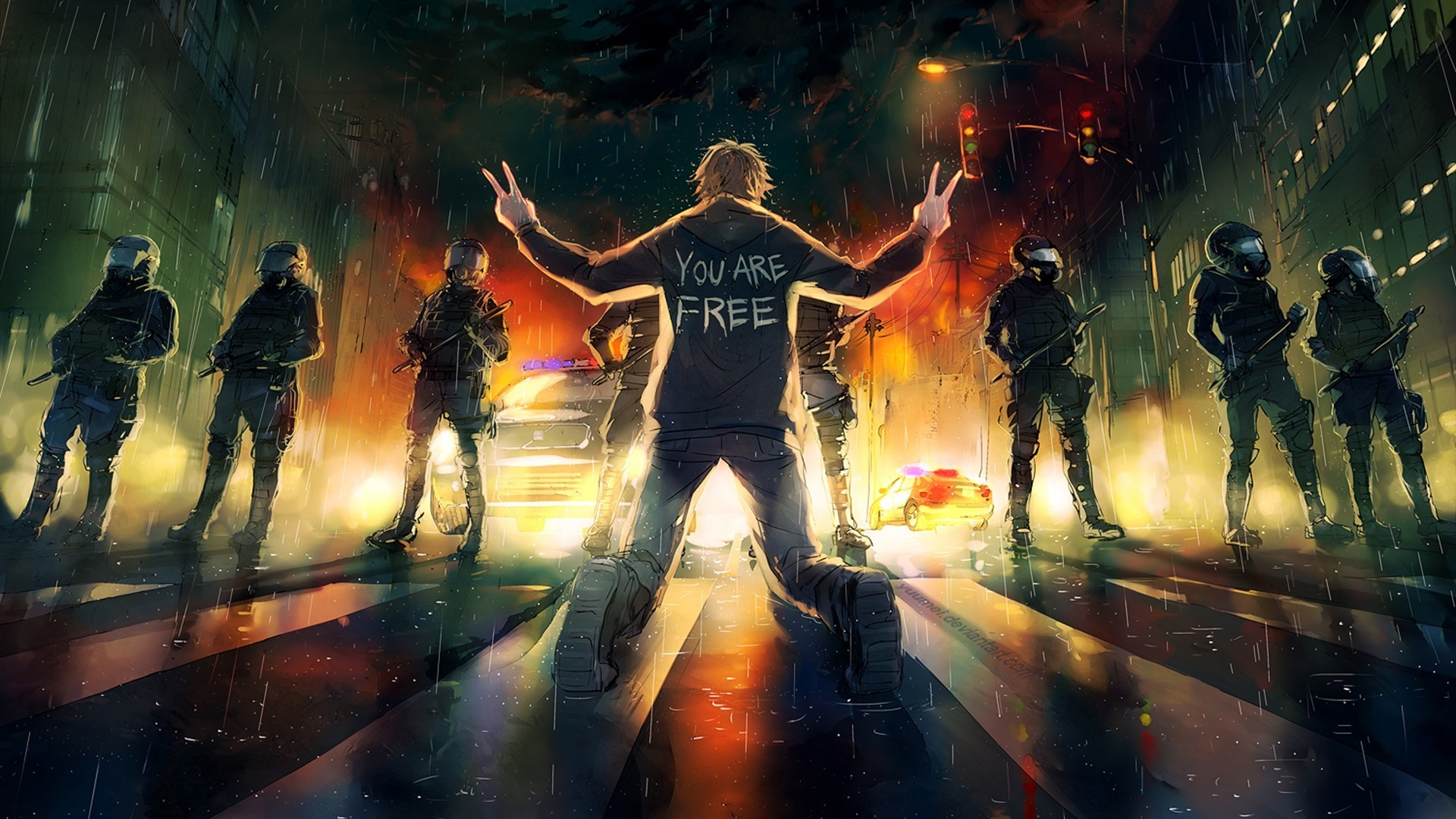 freedom, Police, Yuumei, Fisheye Placebo Wallpapers HD / Desktop and Mobile  Backgrounds