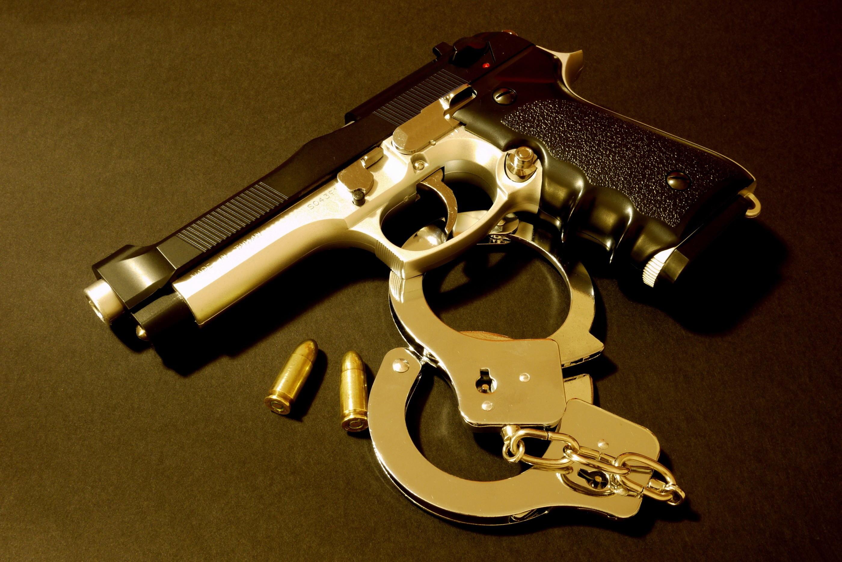 pistol, handcuffs, bullet, weapon, police