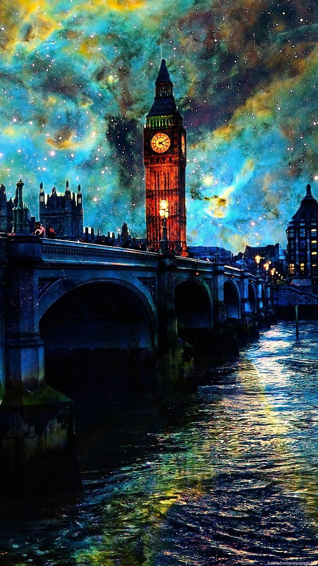 HD river night water clouds sky london iphone 6 wallpaper