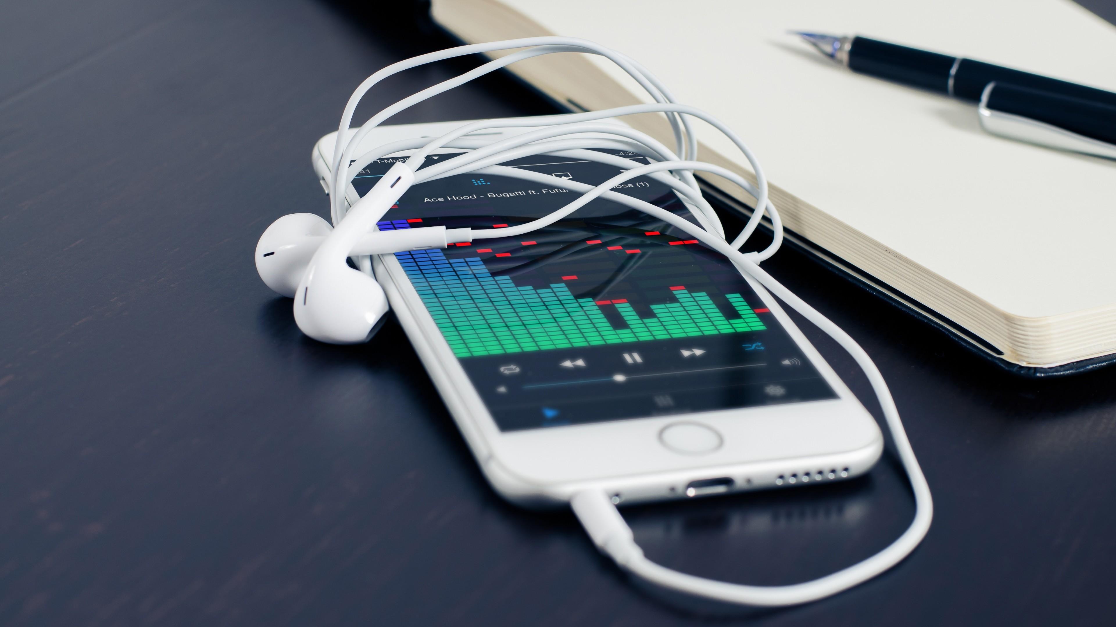 Wallpaper iphone, apple, iphone 6, headphones, notebook, pen