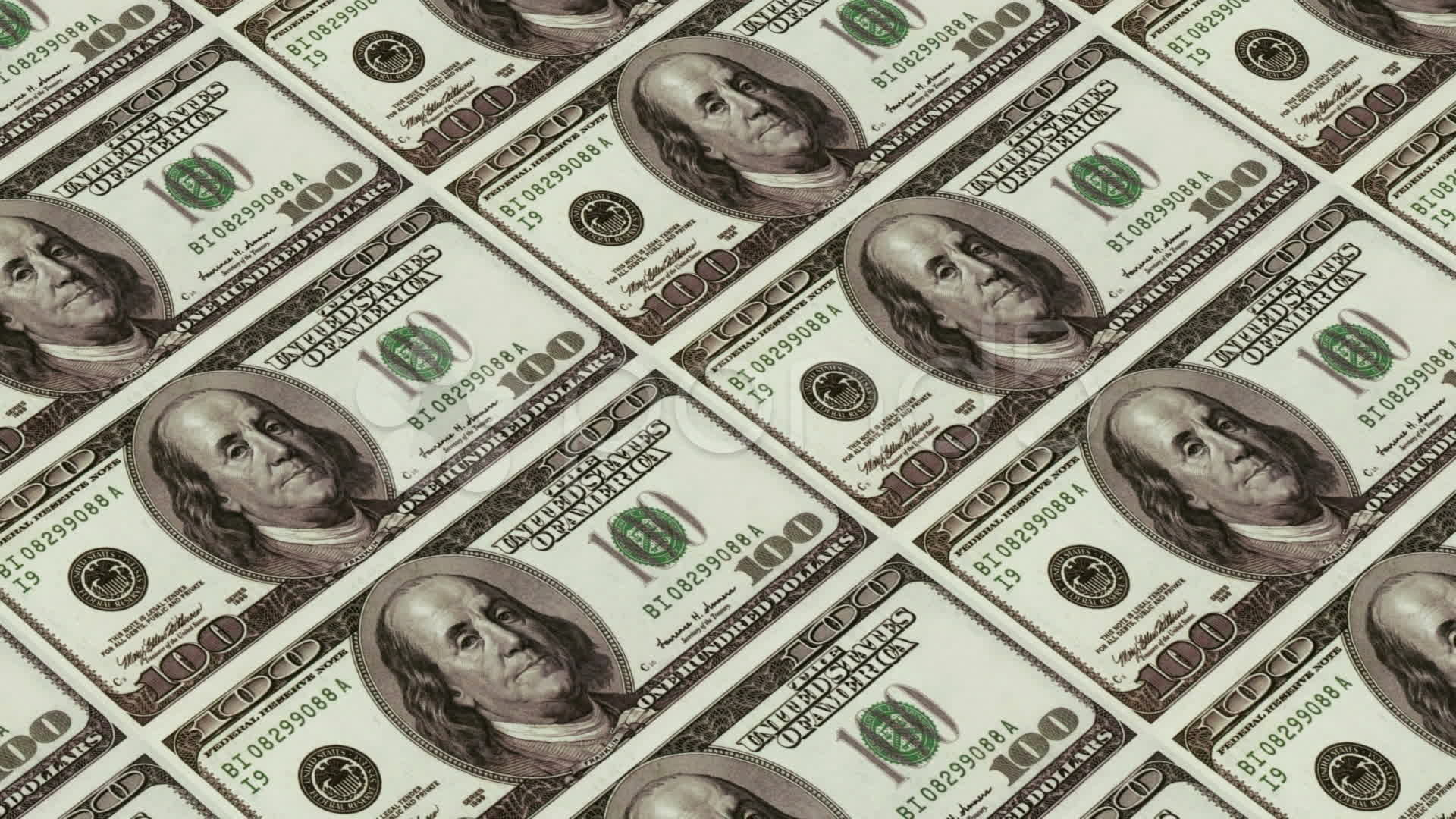 Printing Money Animation,100 Dollar Bills. videos 10734591 | HD .