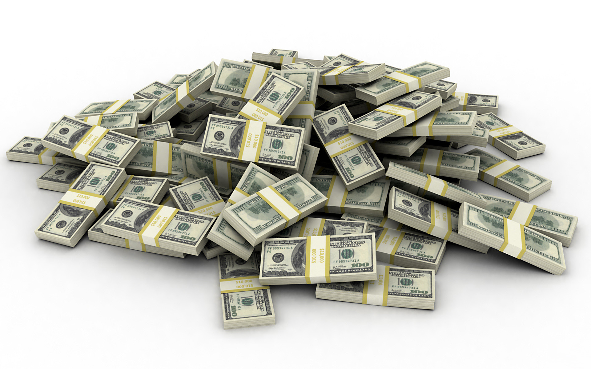 Pile of American 100 Dollar Bills