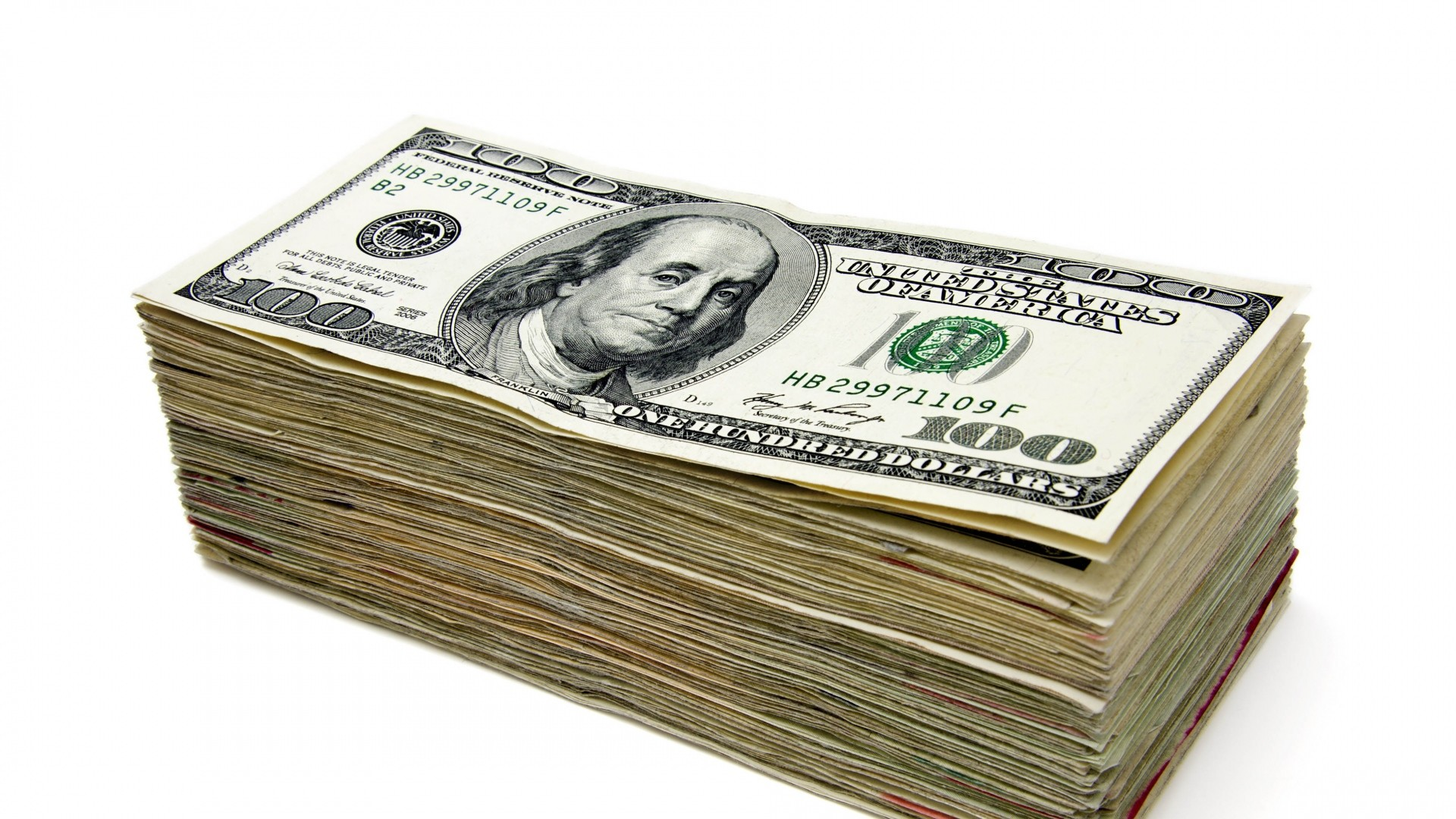 Preview wallpaper money, stack, dollar, white background 1920×1080
