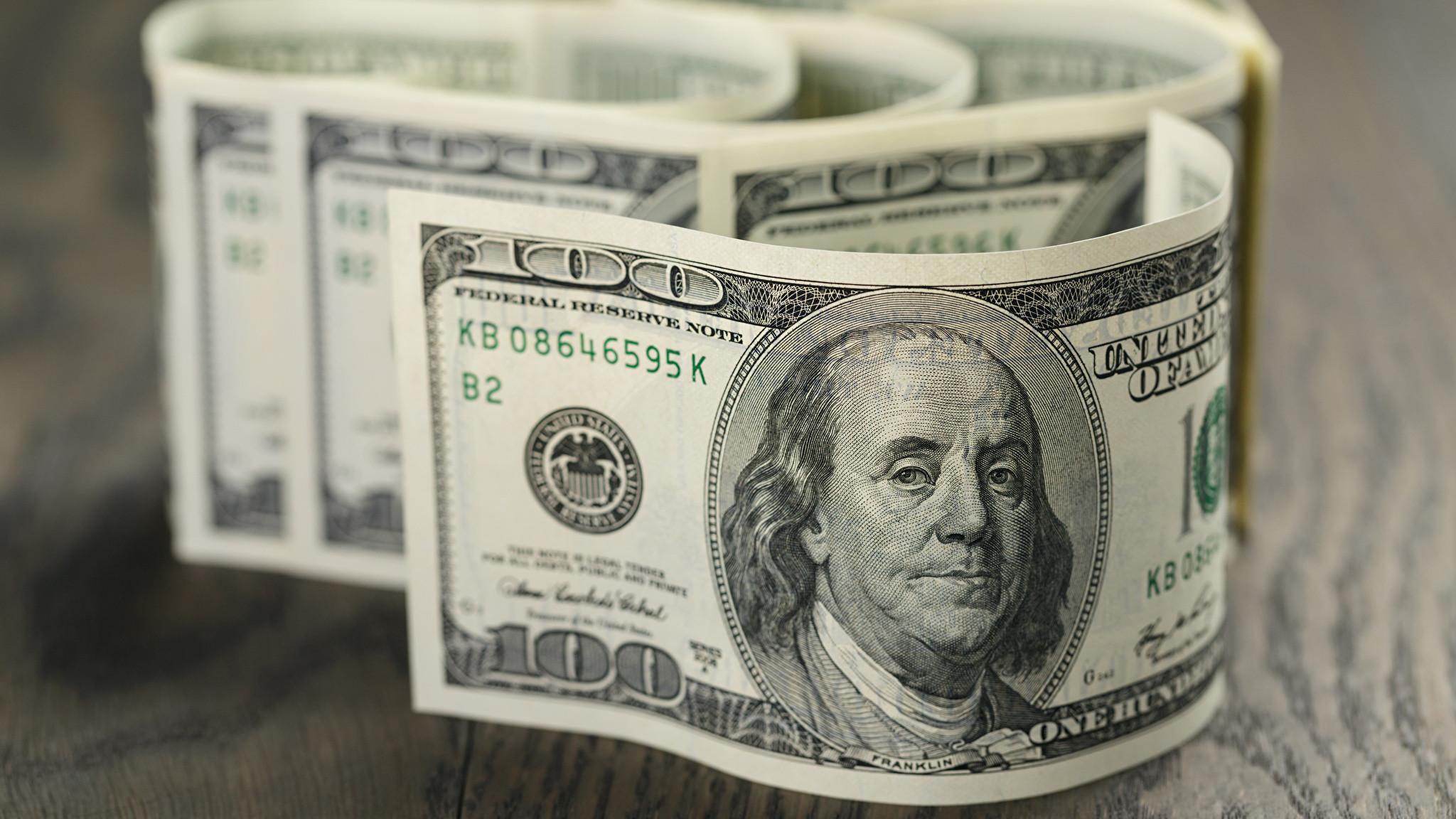 Photo Dollars Banknotes 100 Money Paper money
