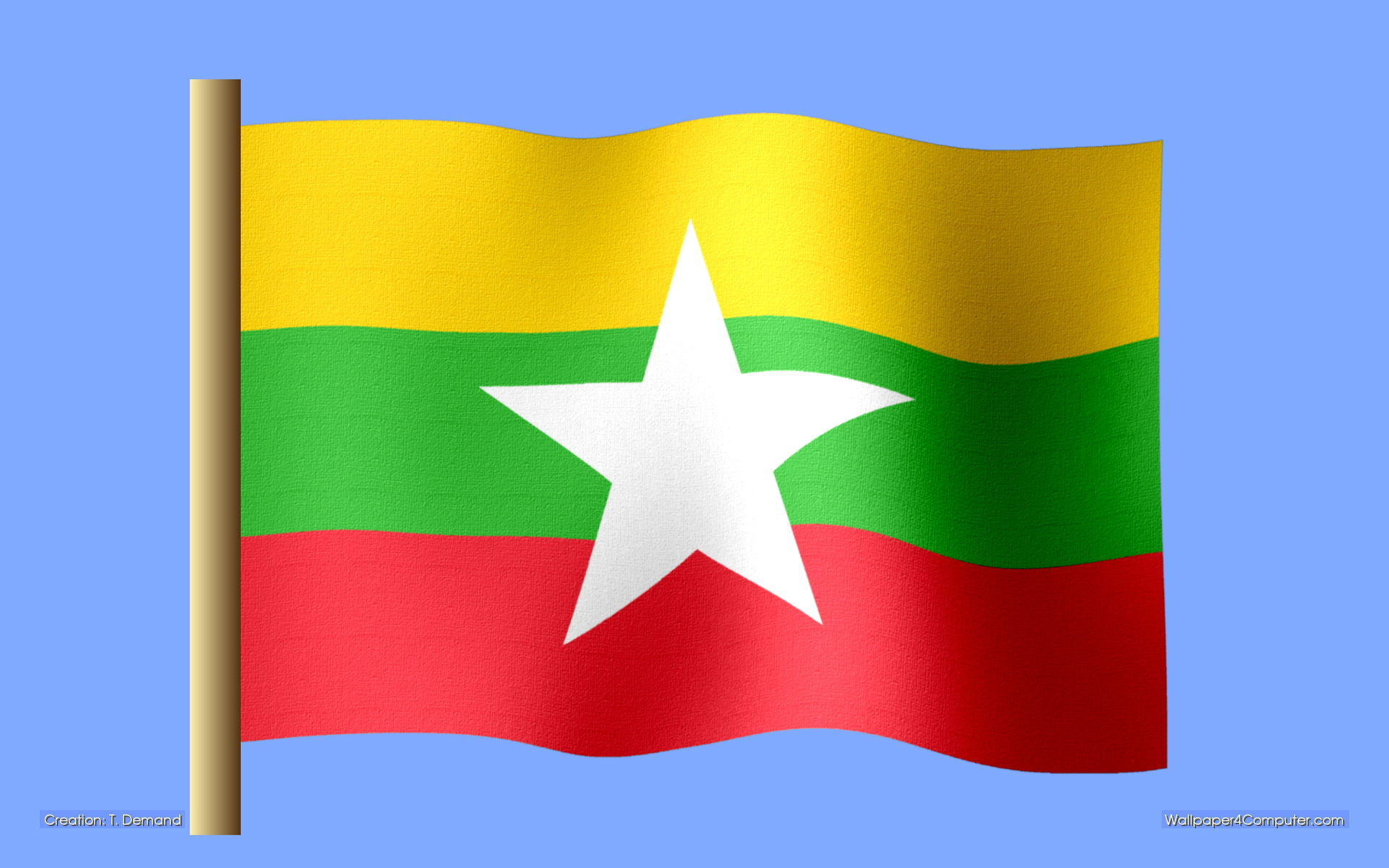 Wallpaper for Computer – Burmese flag desktop wallpaper – 1920 x 1200 pixels