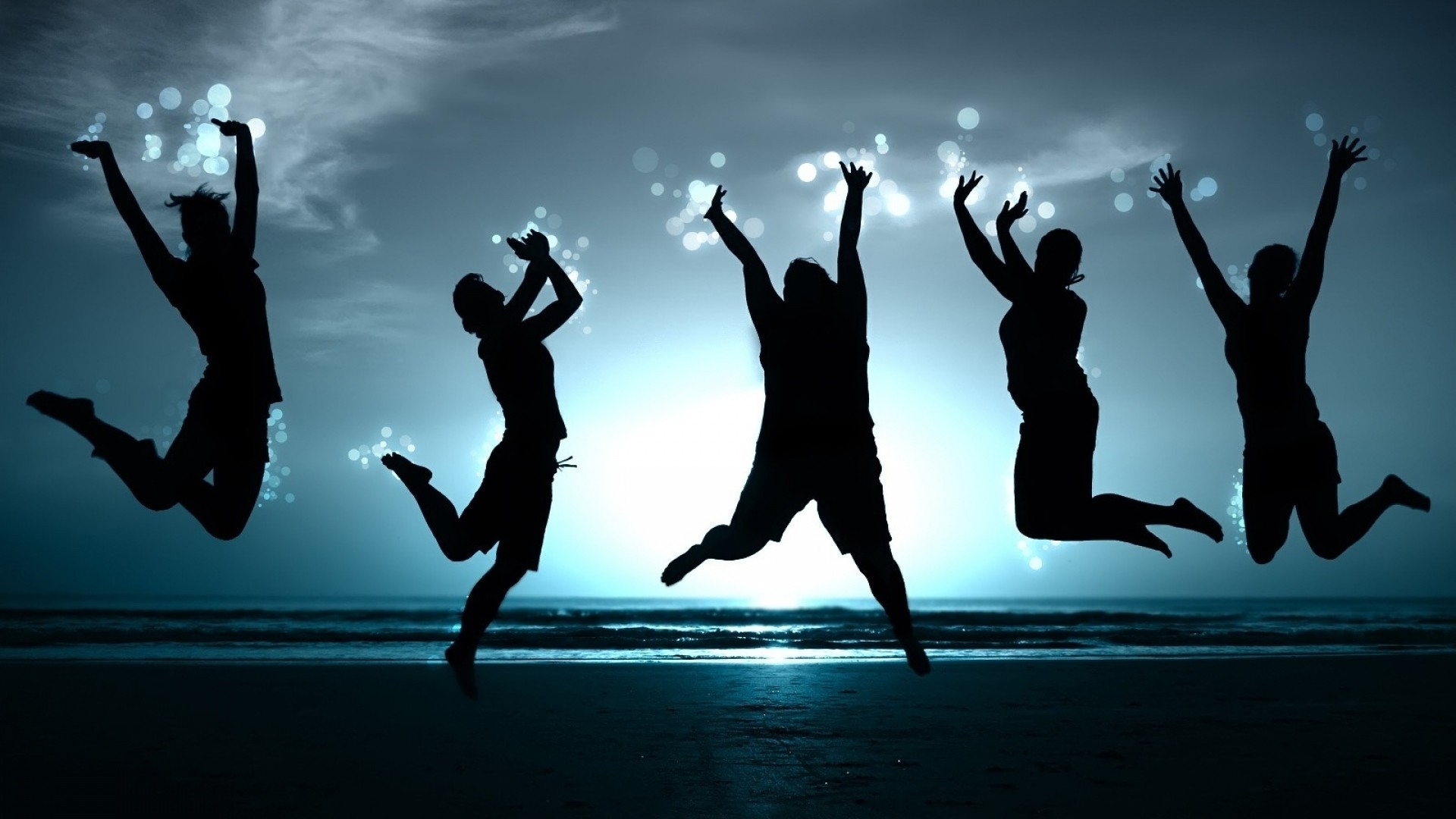 Wallpaper people, jump, happiness, beach, shadow, image