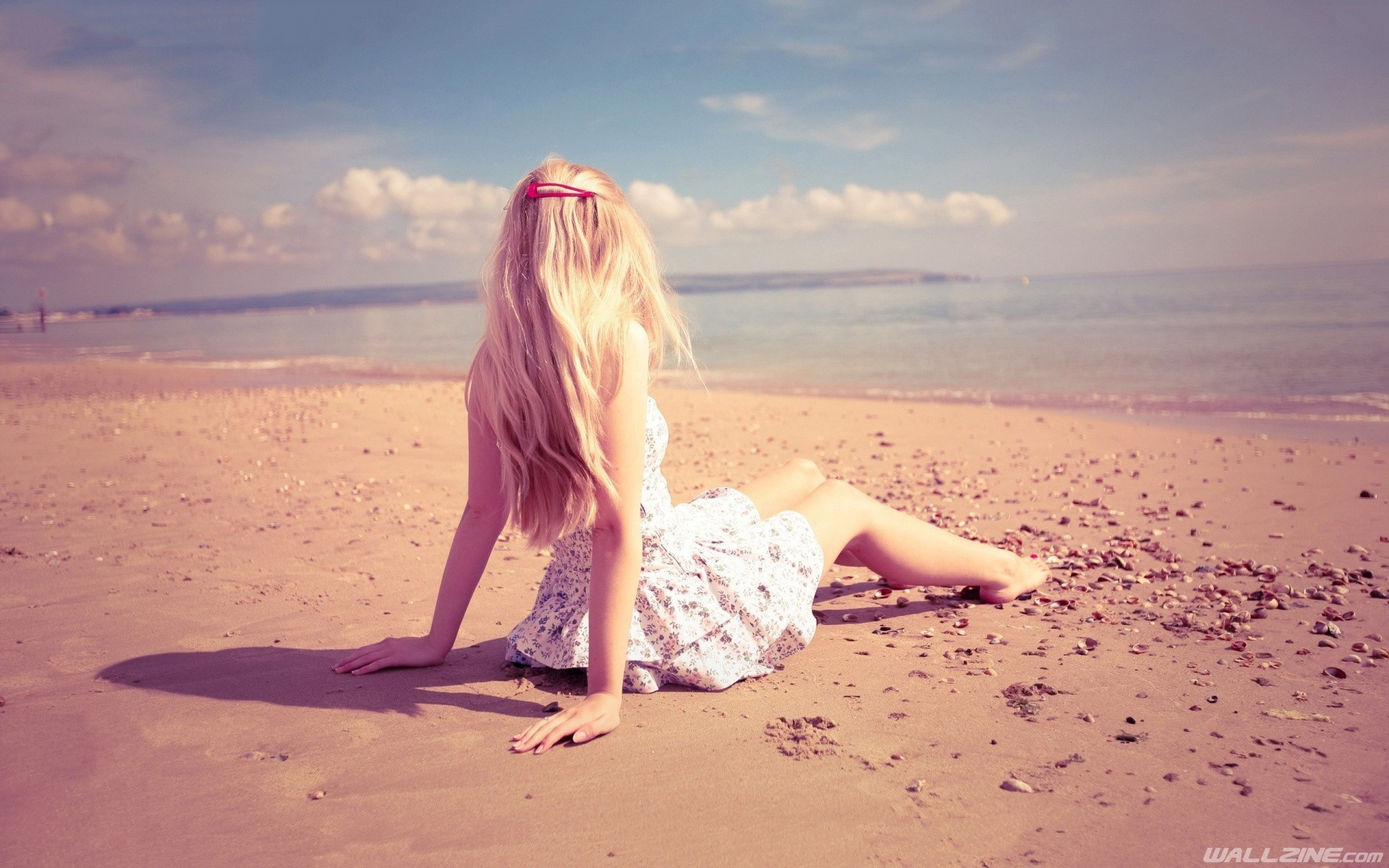 Lonely Girl Sitting On Beach Wallpaper