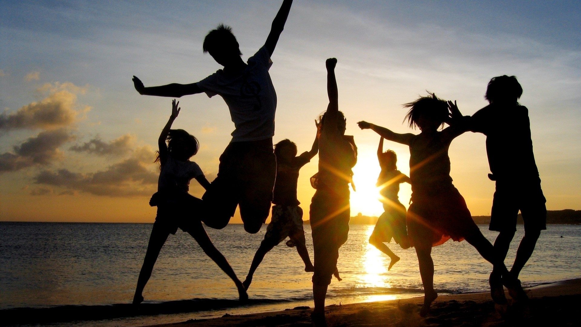 Happy people, friends, happiness, sunset, beach: