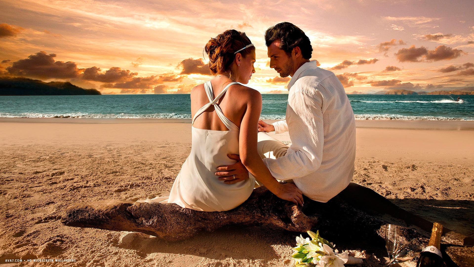 … loving couple love beach sunset sea feelings